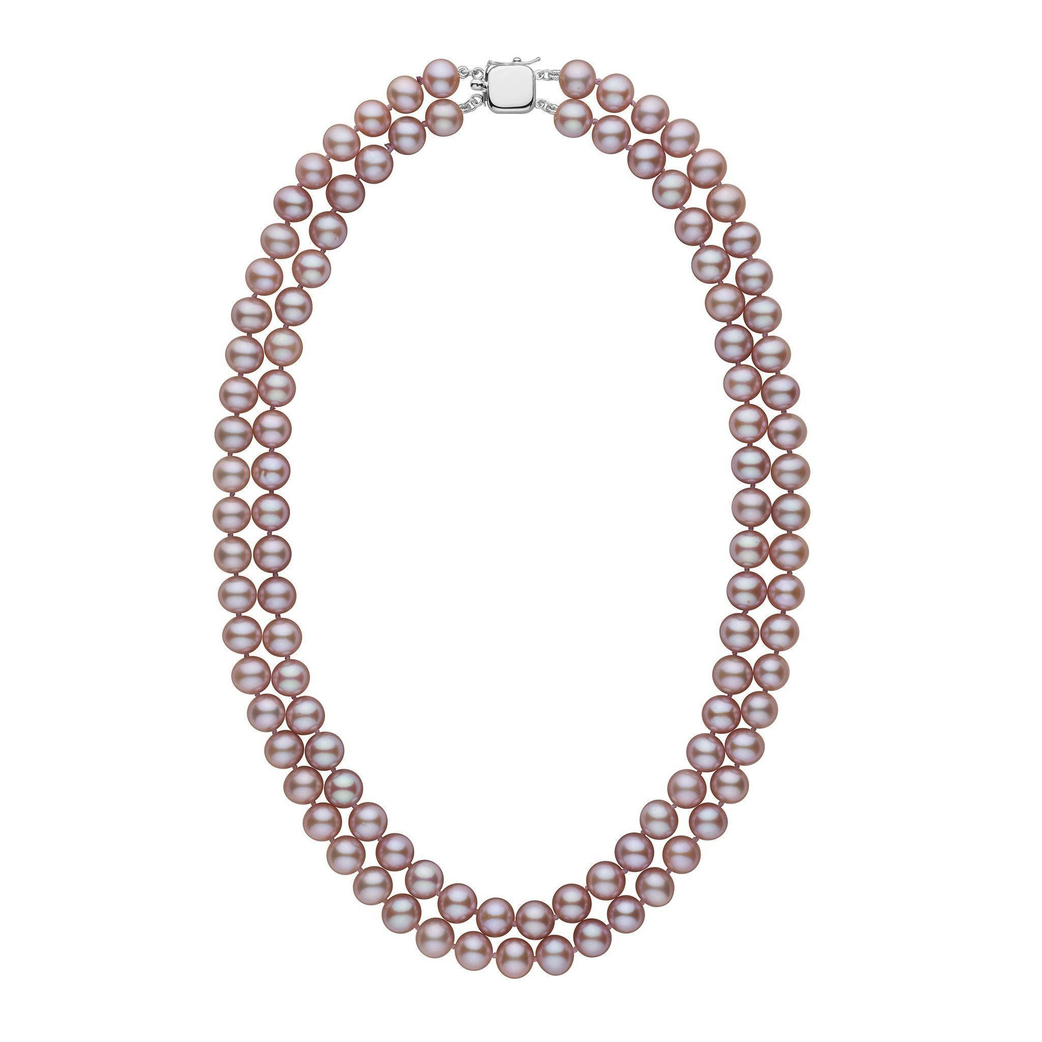 7.5-8.0 mm Double Strand AAA Lavender Freshwater Pearl Necklace