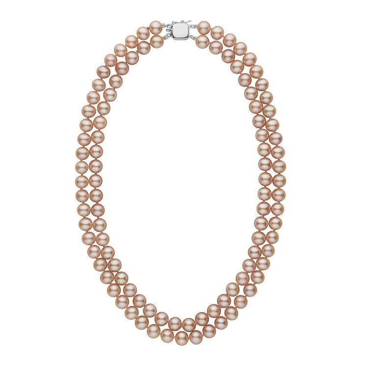 7.5-8.0 mm Double Strand AAA Pink to Peach Freshwater Pearl Necklace