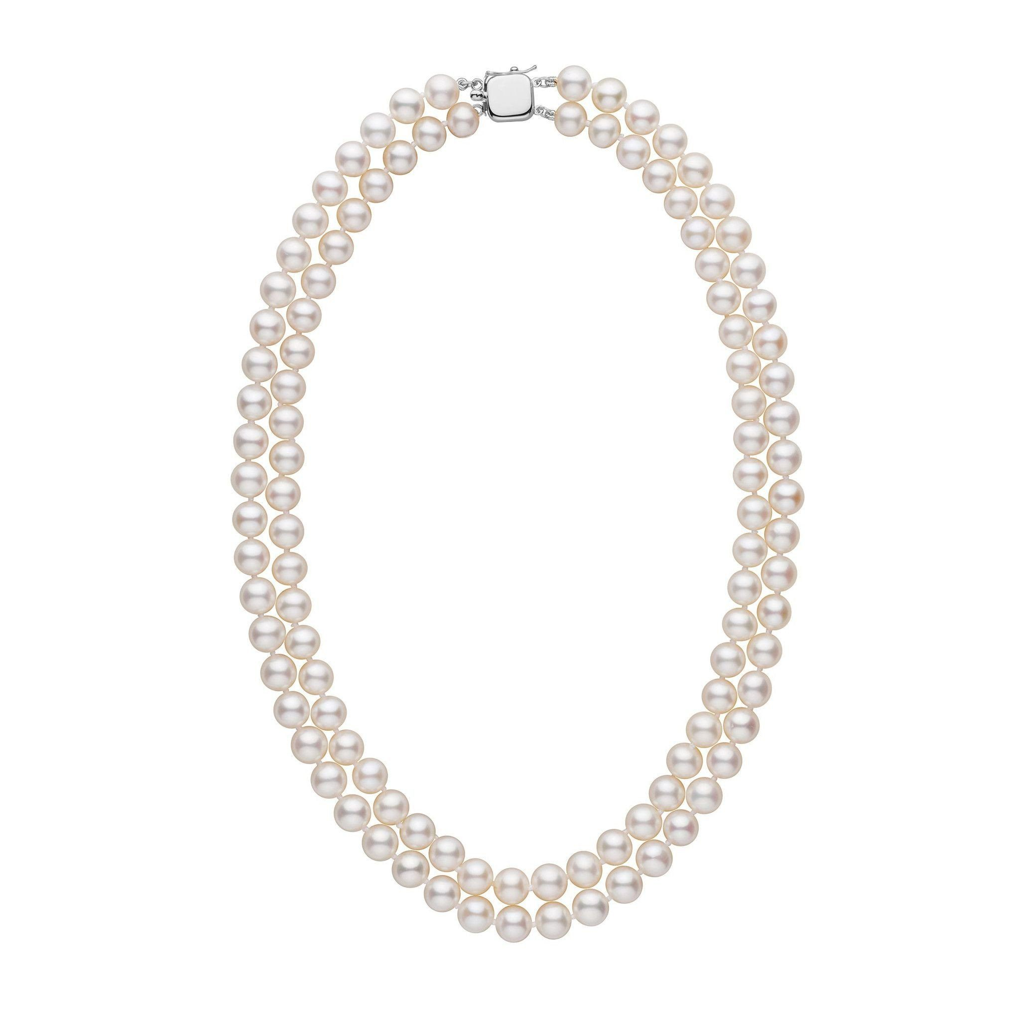 7.5-8.0 mm Double Strand AAA White Freshwater Pearl Necklace