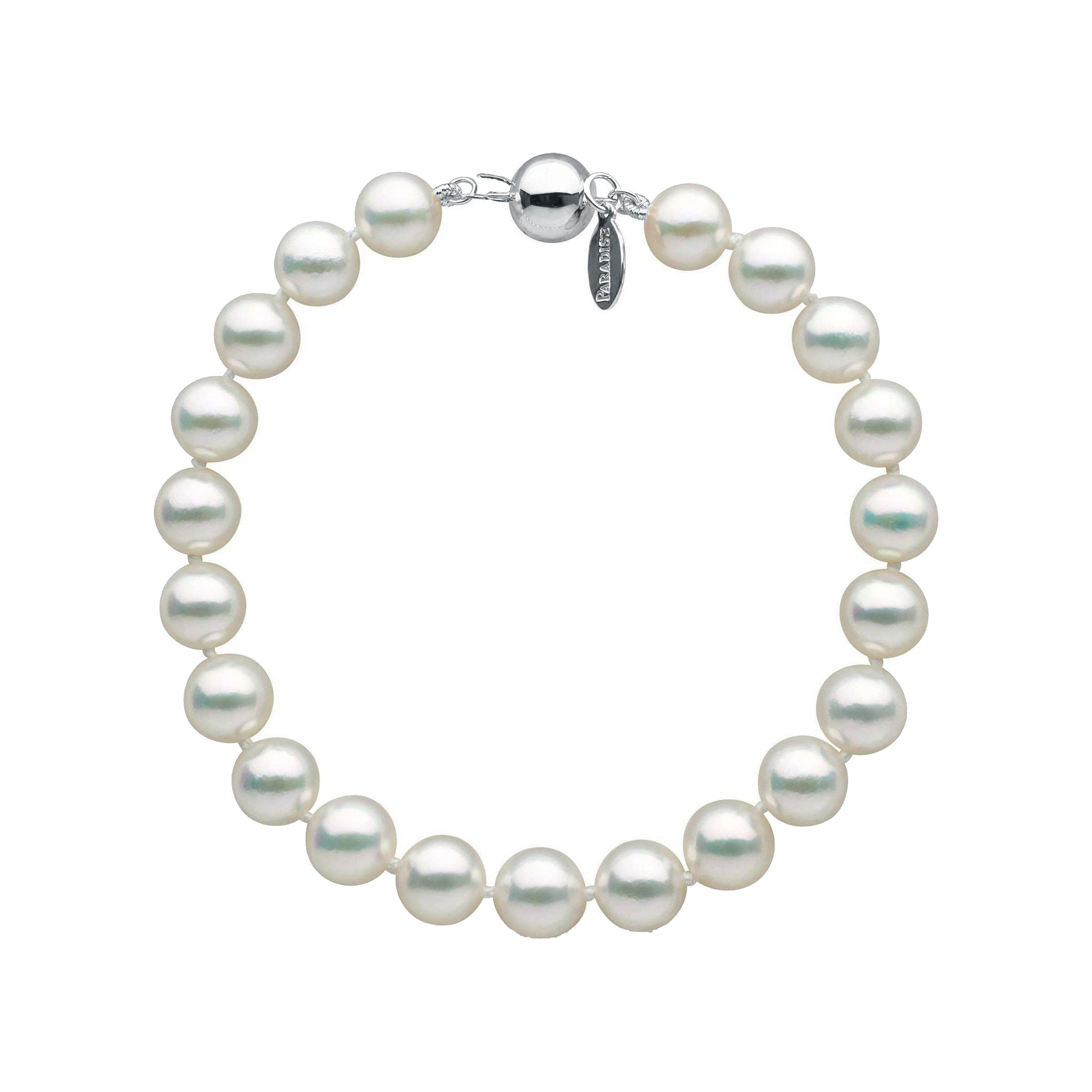 7.5-8.0 mm Natural White Hanadama Akoya Pearl Bracelet