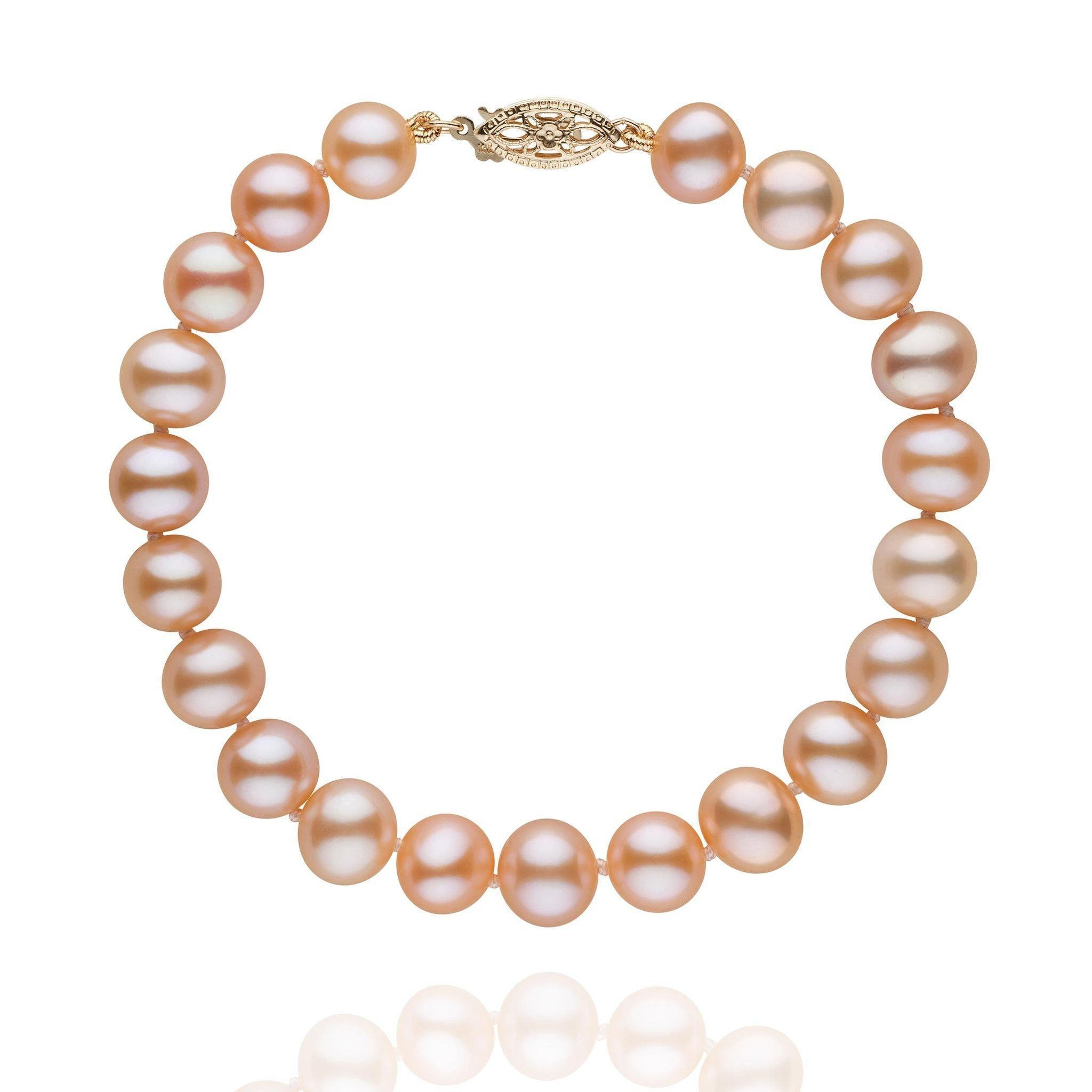 7.5-8.0 mm Pink to Peach Freshwater AA+ Pearl Bracelet