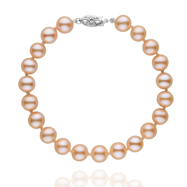 7.5-8.0 mm Pink to Peach Freshwater AAA Pearl Bracelet