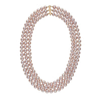 7.5-8.0 mm Triple-Strand AA+ Lavender Freshwater Cultured Pearl Necklace
