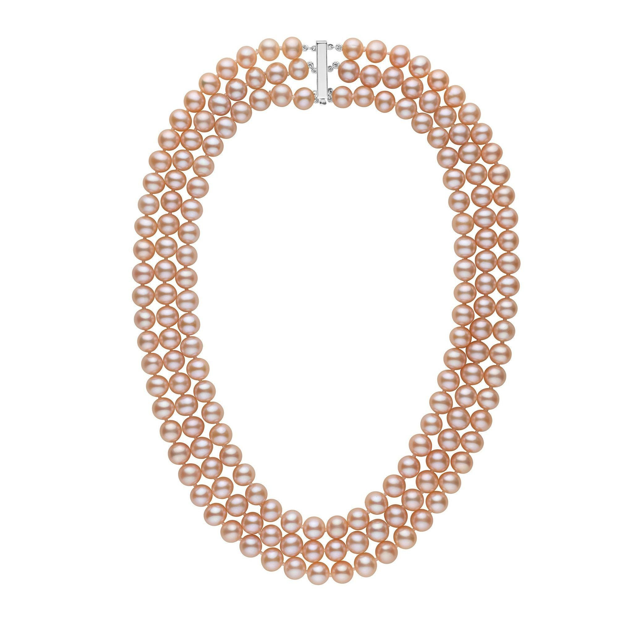 7.5-8.0 mm Triple-Strand AA+ Pink to Peach Freshwater Pearl Necklace