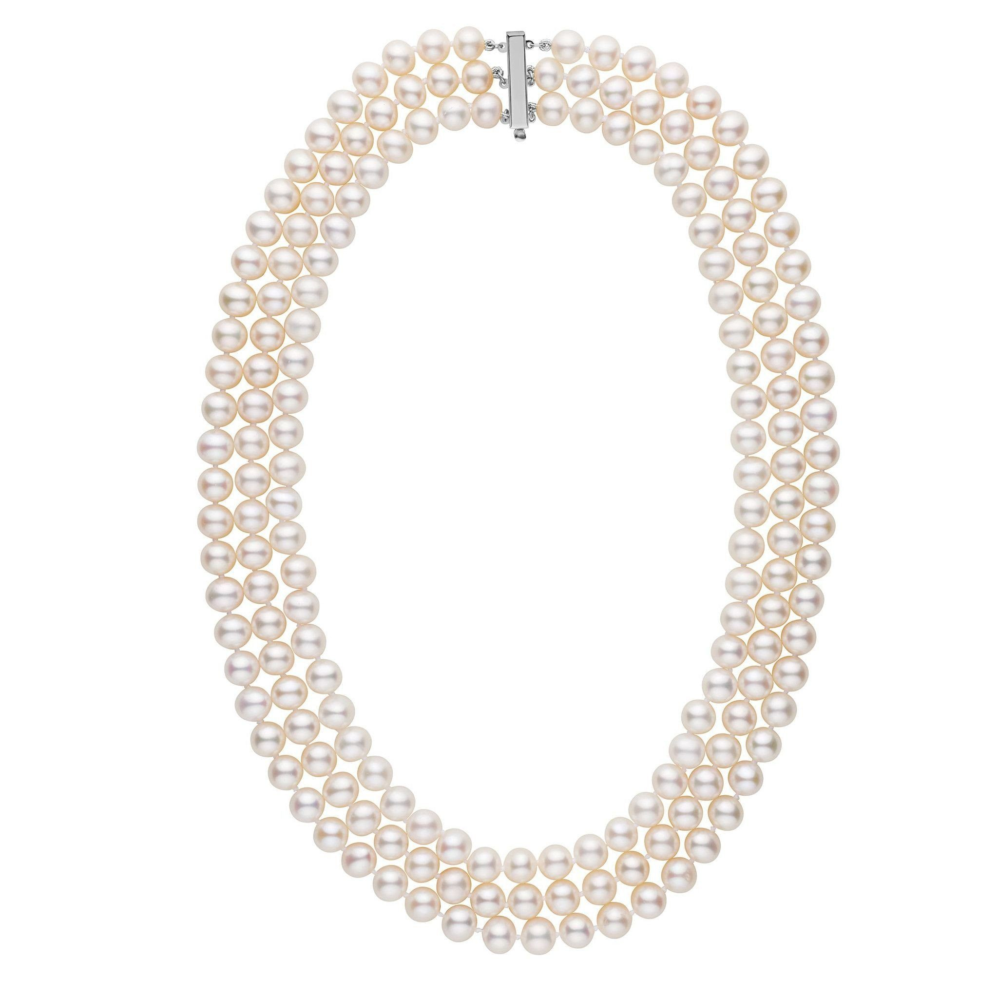 7.5-8.0 mm Triple-Strand AA+ White Freshwater Cultured Pearl Necklace