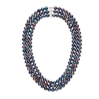 7.5-8.0 mm Triple-Strand AAA Black Freshwater Cultured Pearl Necklace
