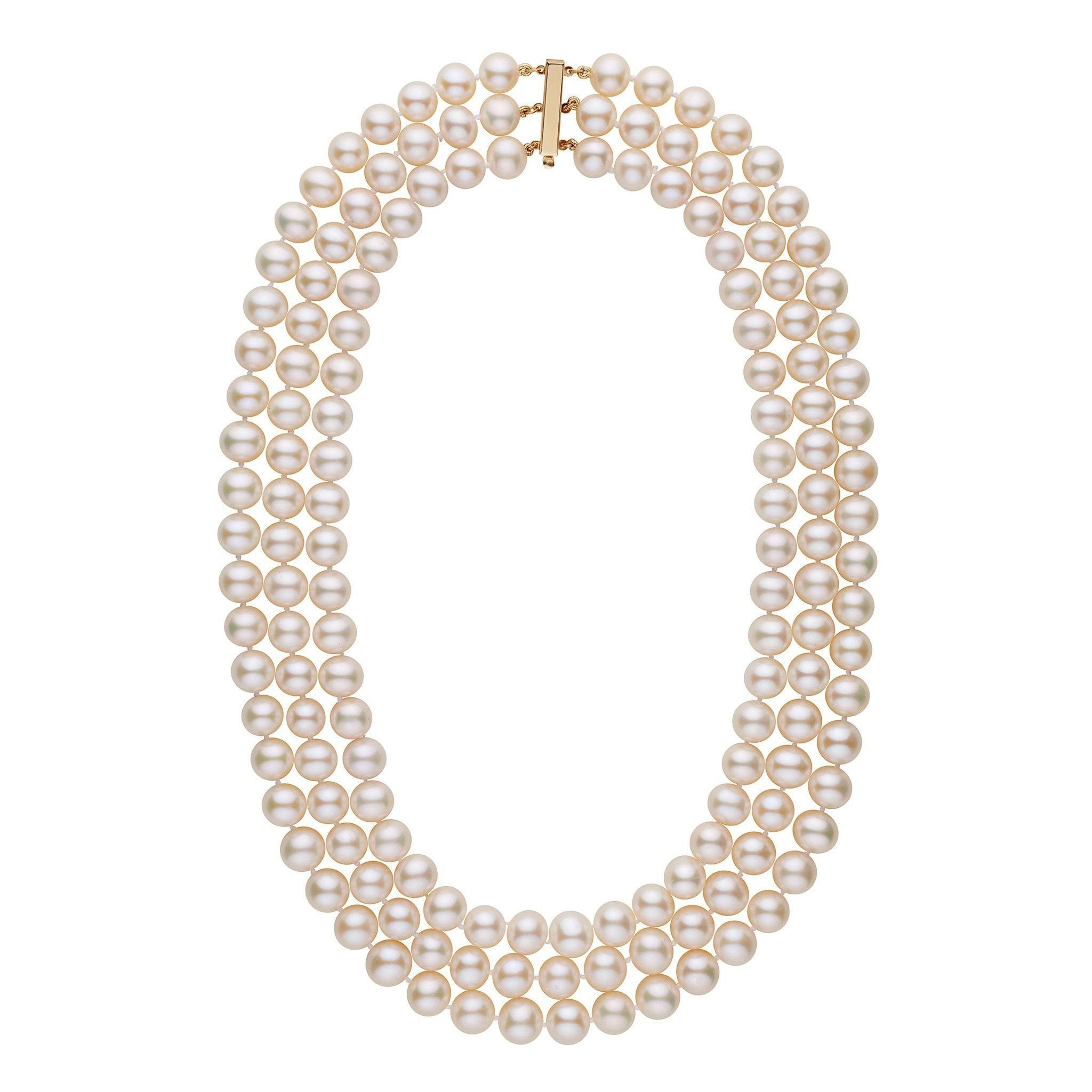 7.5-8.0 mm Triple-Strand AAA White Freshwater Cultured Pearl Necklace