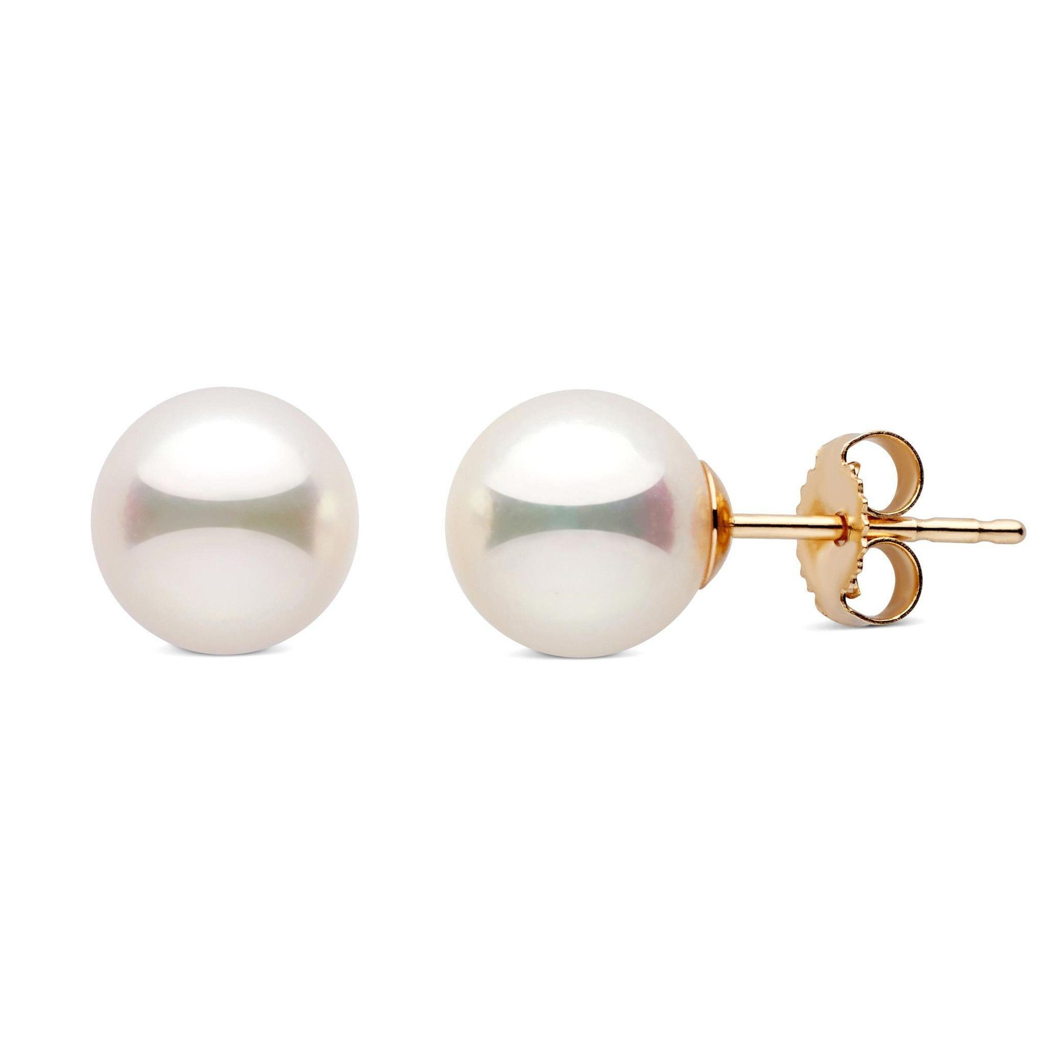 7.5-8.0 mm White Akoya AAA Pearl Stud Earrings