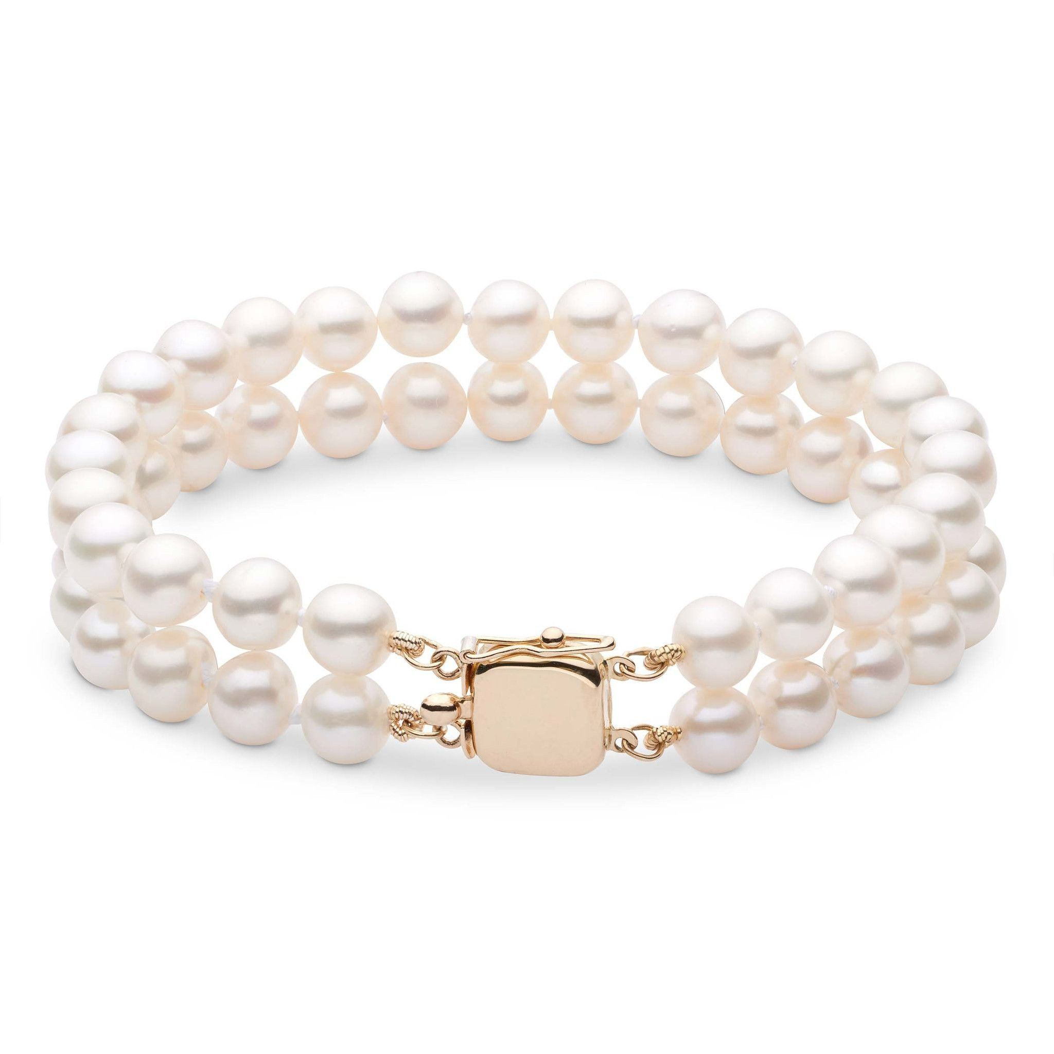 7.5-8.0 mm White Freshwater AA+ Pearl Double Strand Bracelet