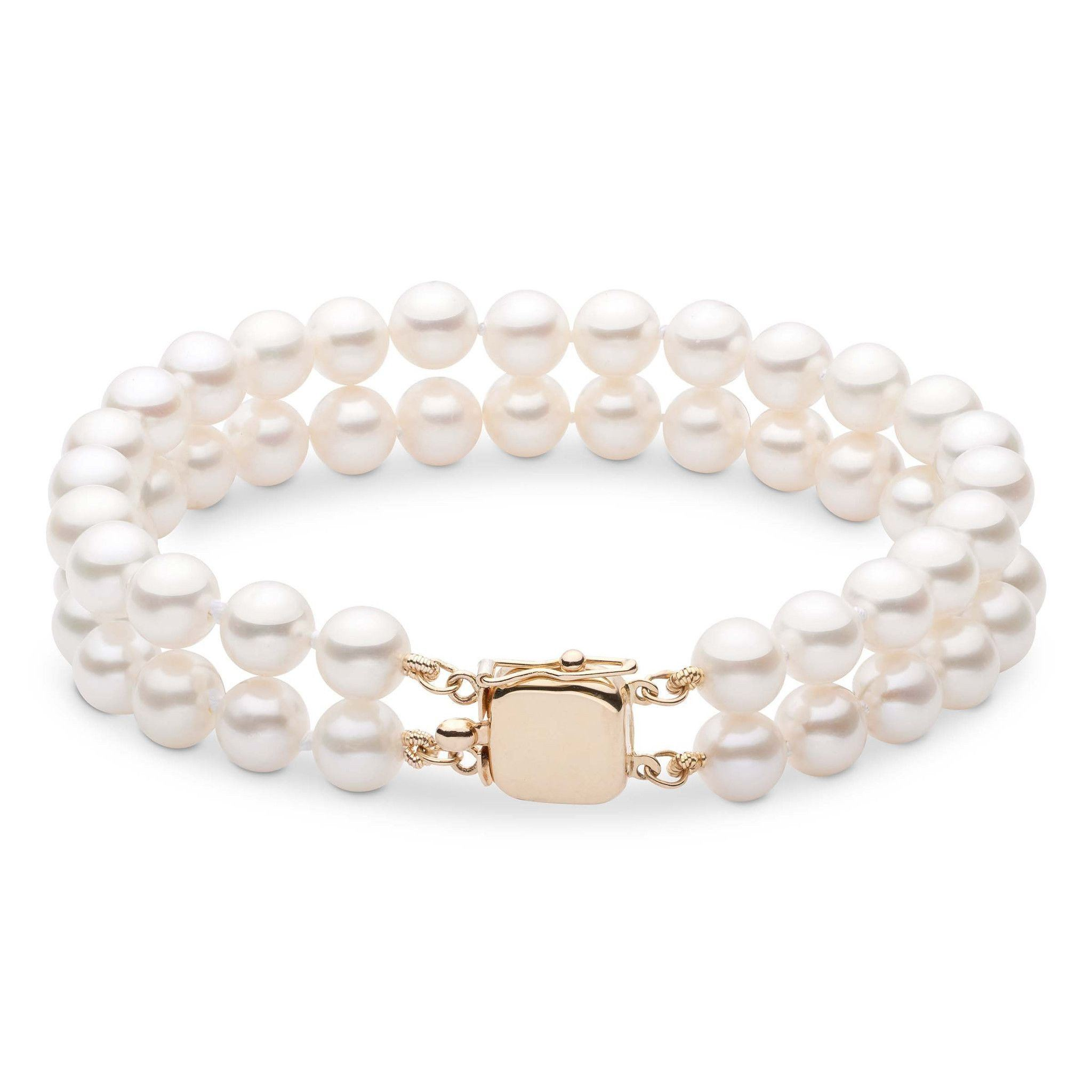 7.5-8.0 mm White Freshwater AAA Pearl Double Strand Bracelet