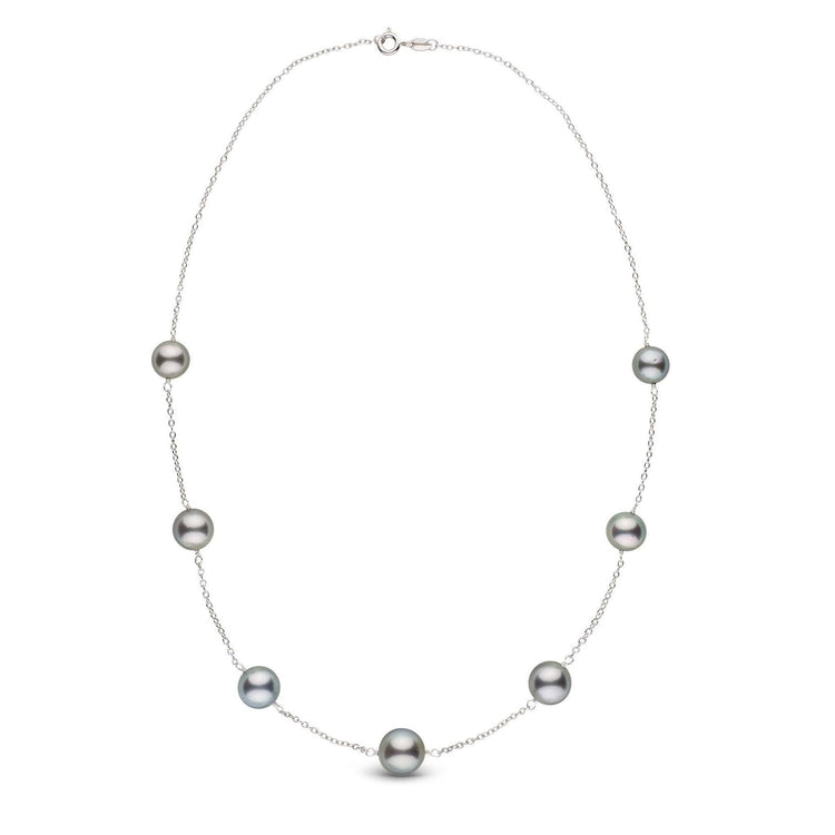 8.0-10.0 mm Round Tahitian Pearl Sterling Silver Tin Cup Necklace