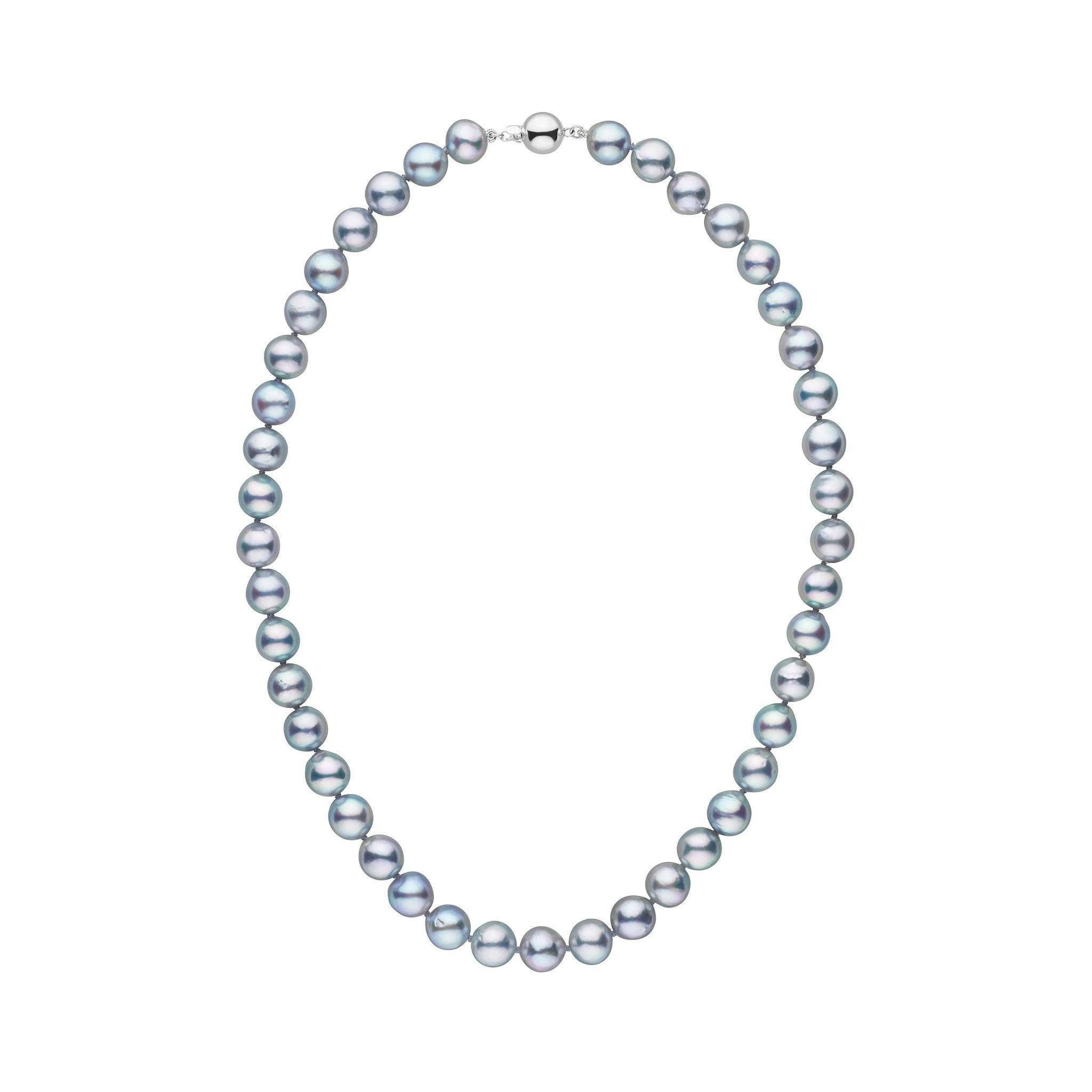 8.0-8.5 mm 16 Inch Silver-Blue Akoya Baroque Pearl Necklace