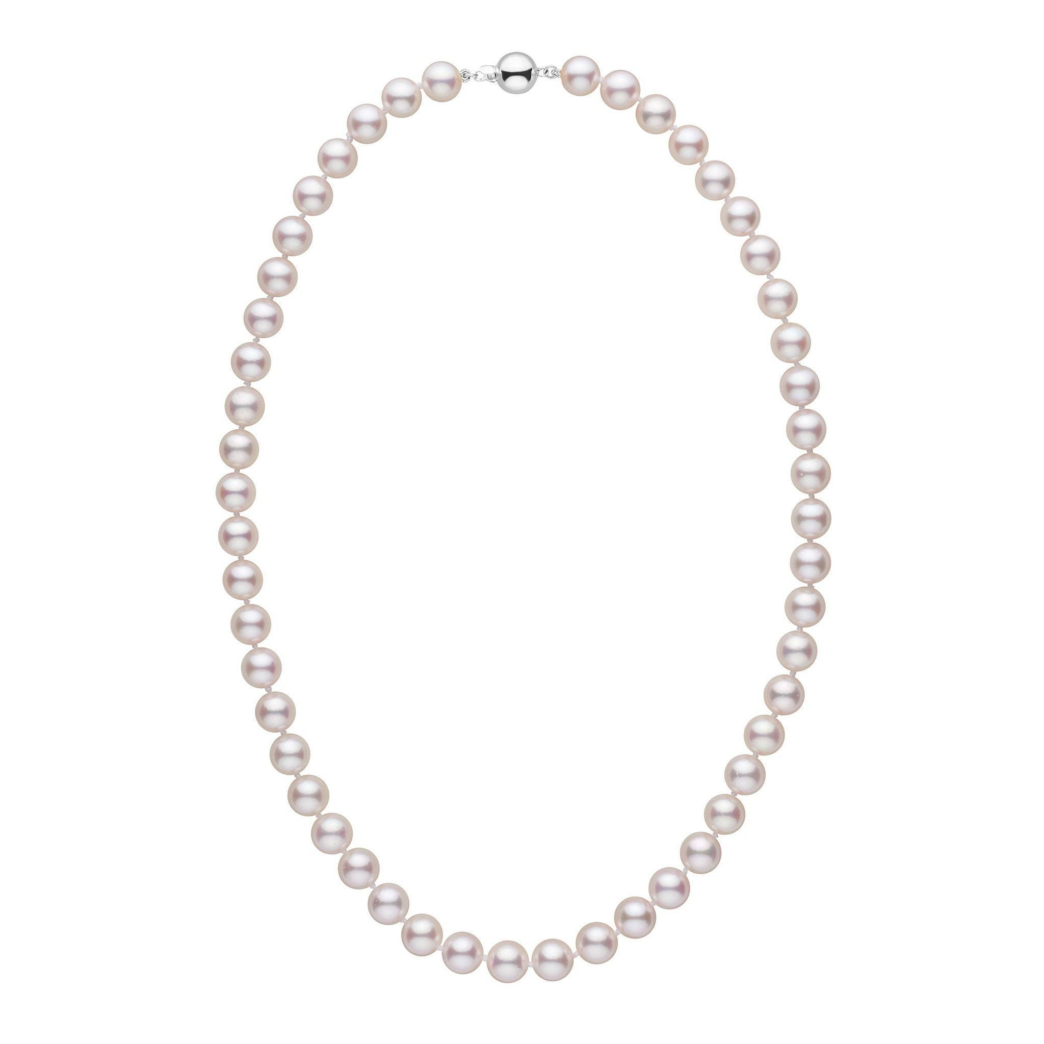 8.0-8.5 mm 18 inch AA+ White Akoya Pearl Necklace