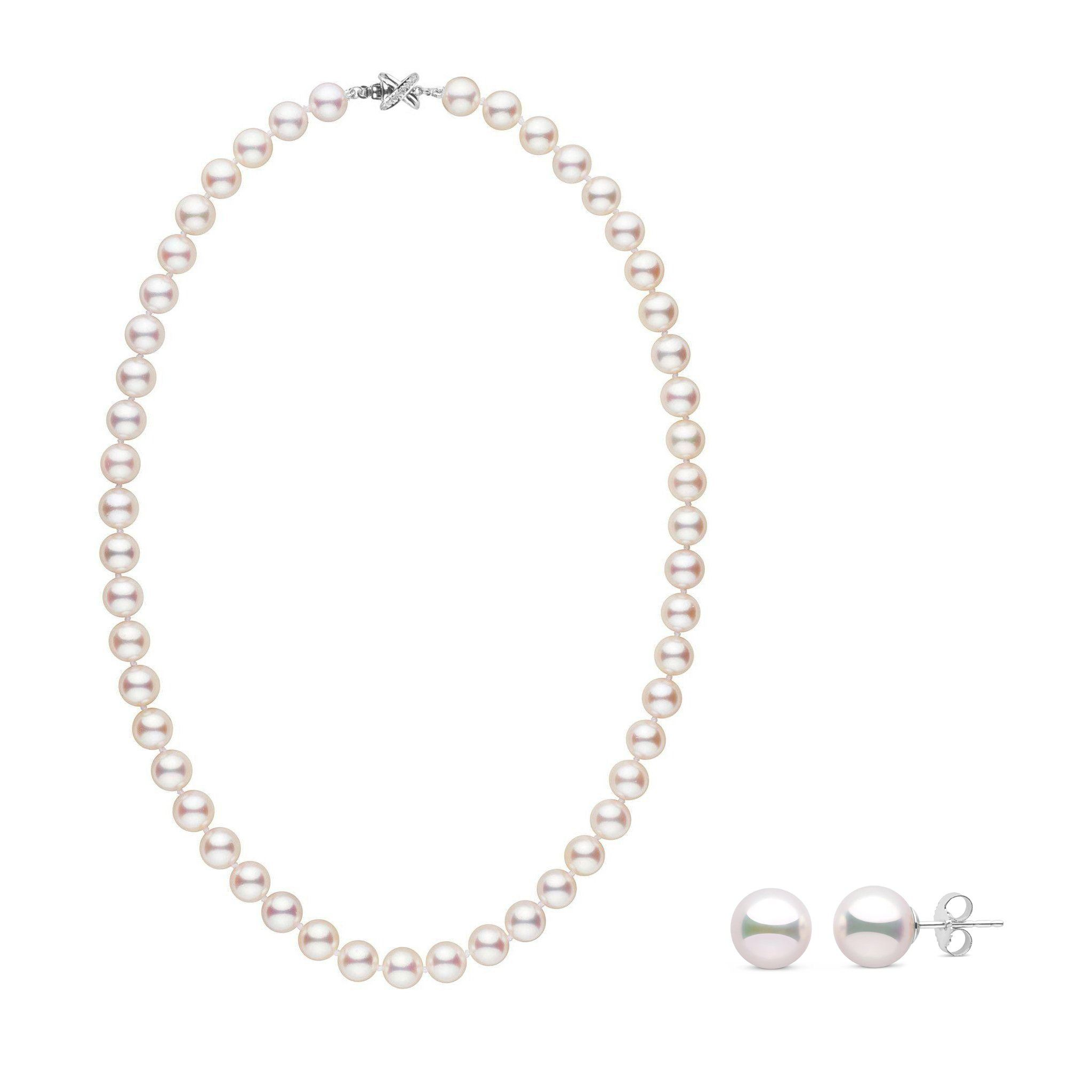 8.0-8.5 mm White Hanadama Pearl Set with Diamond X Clasp