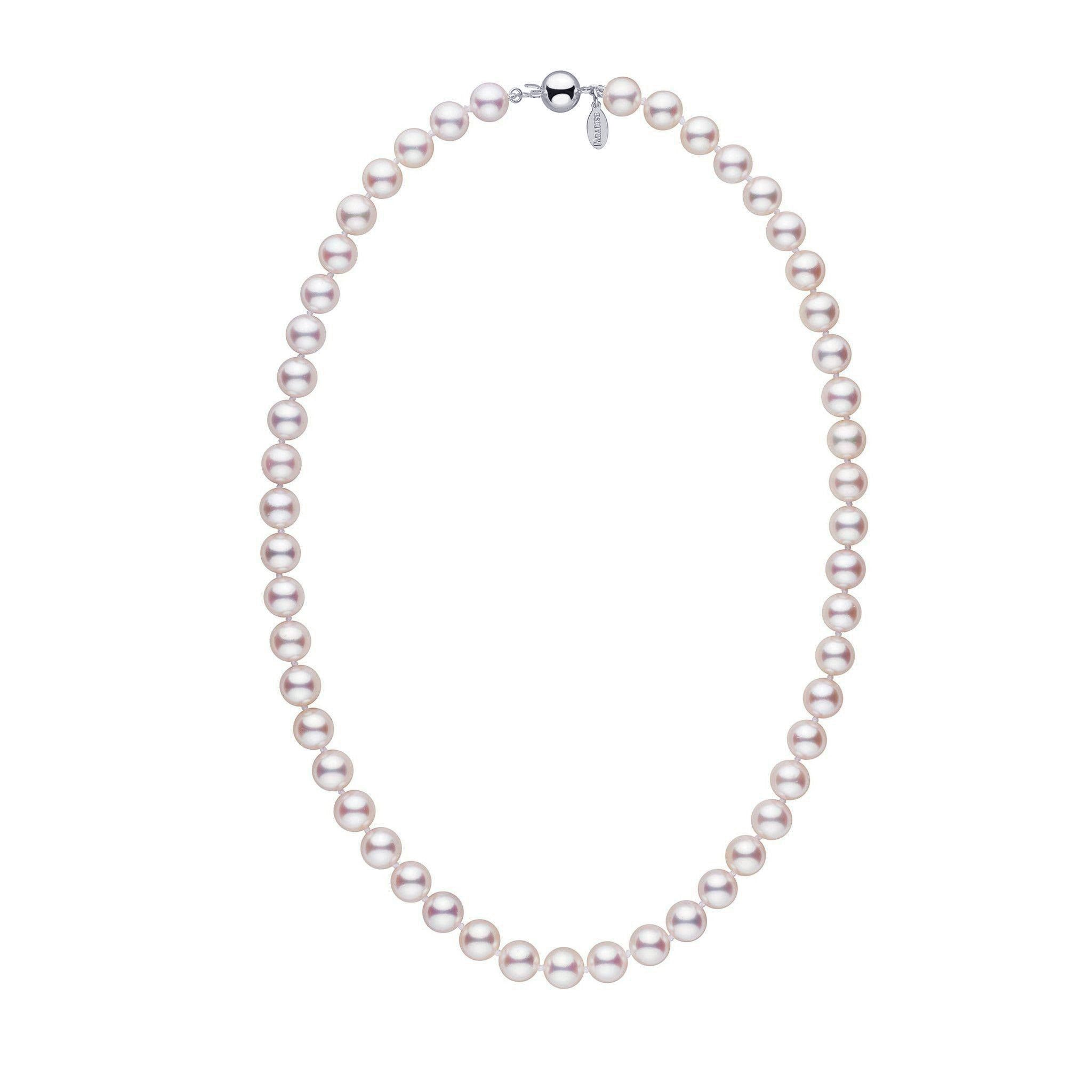8.0-8.5 mm 18 inch White Hanadama Akoya Pearl Necklace