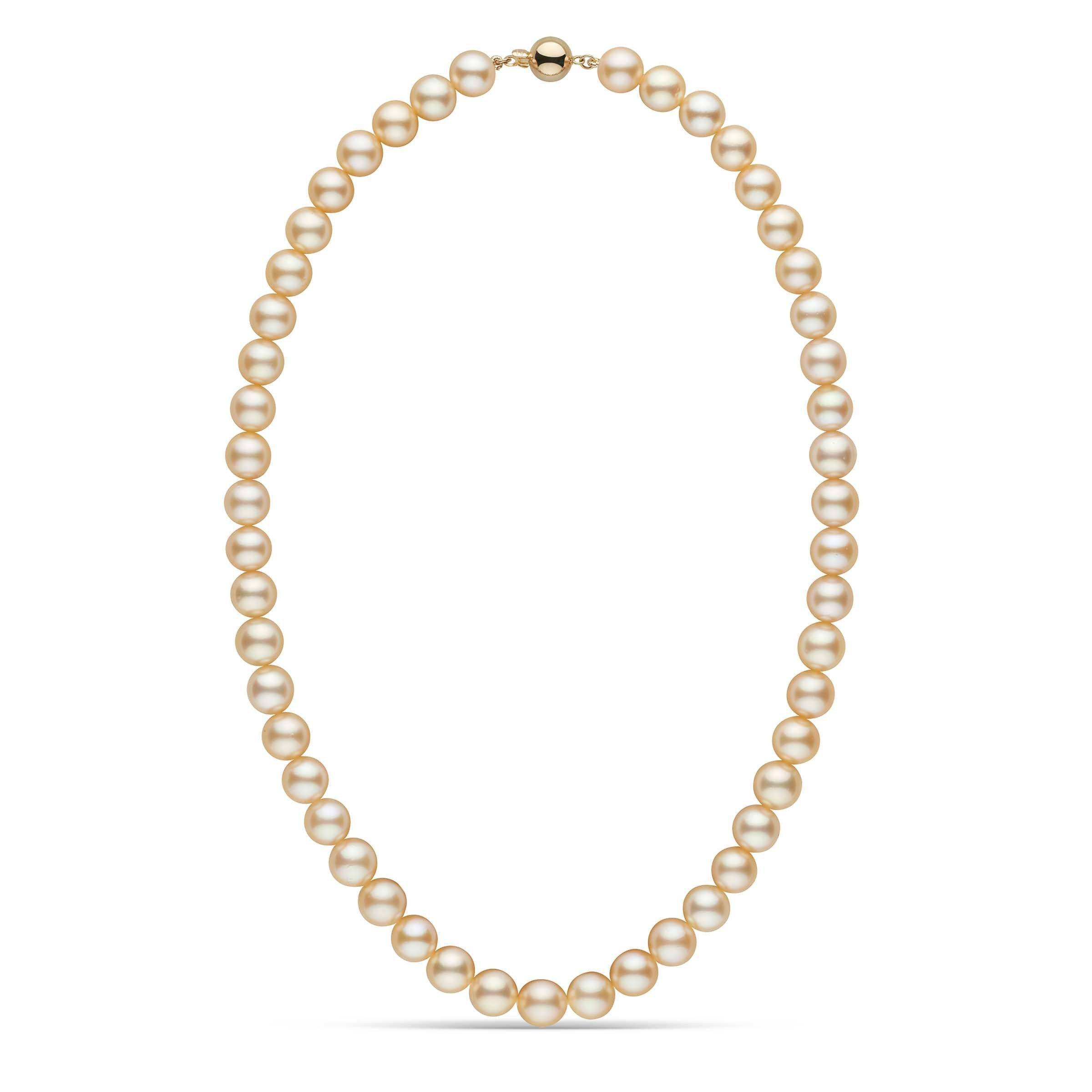 8.0-8.5 mm Natural Gold Akoya Pearl Necklace
