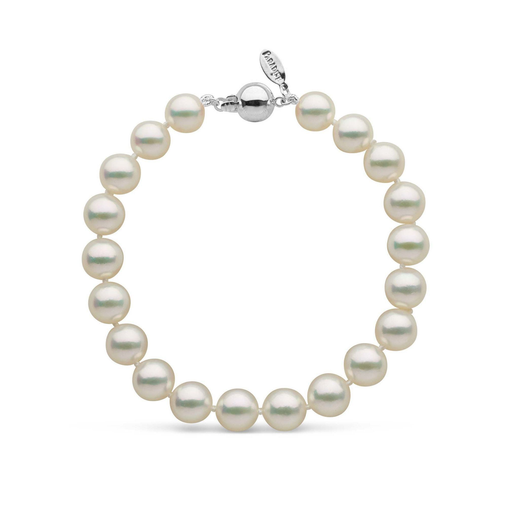 8.0-8.5 mm Natural White Hanadama Akoya Pearl Bracelet