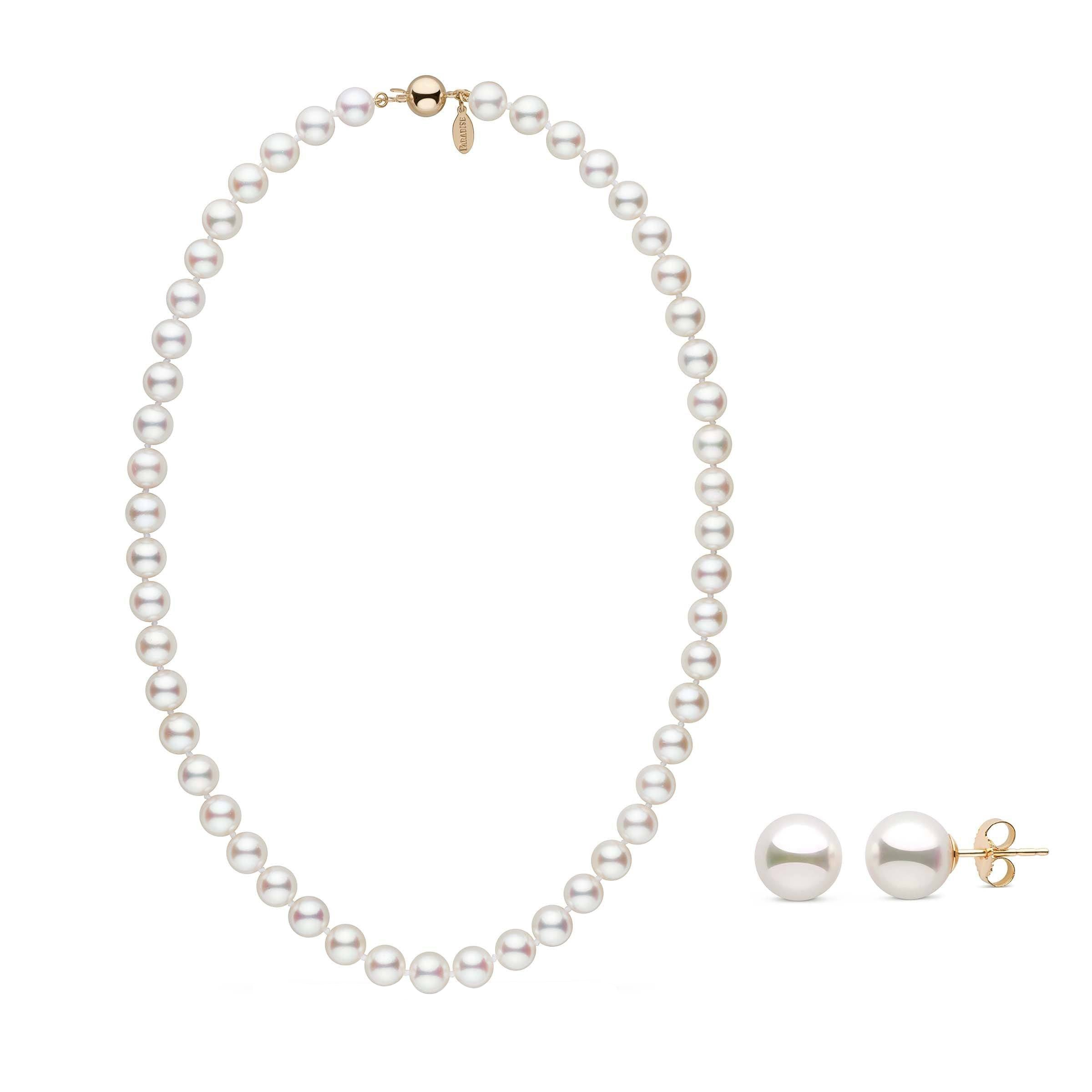 8.0-8.5 mm White Hanadama Akoya Pearl Set