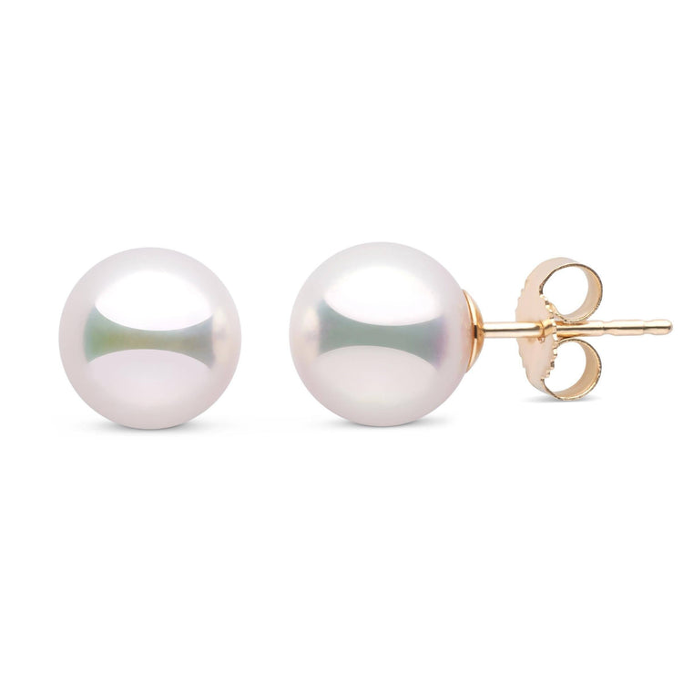 8.0-8.5 mm White Hanadama Pearl Stud Earrings