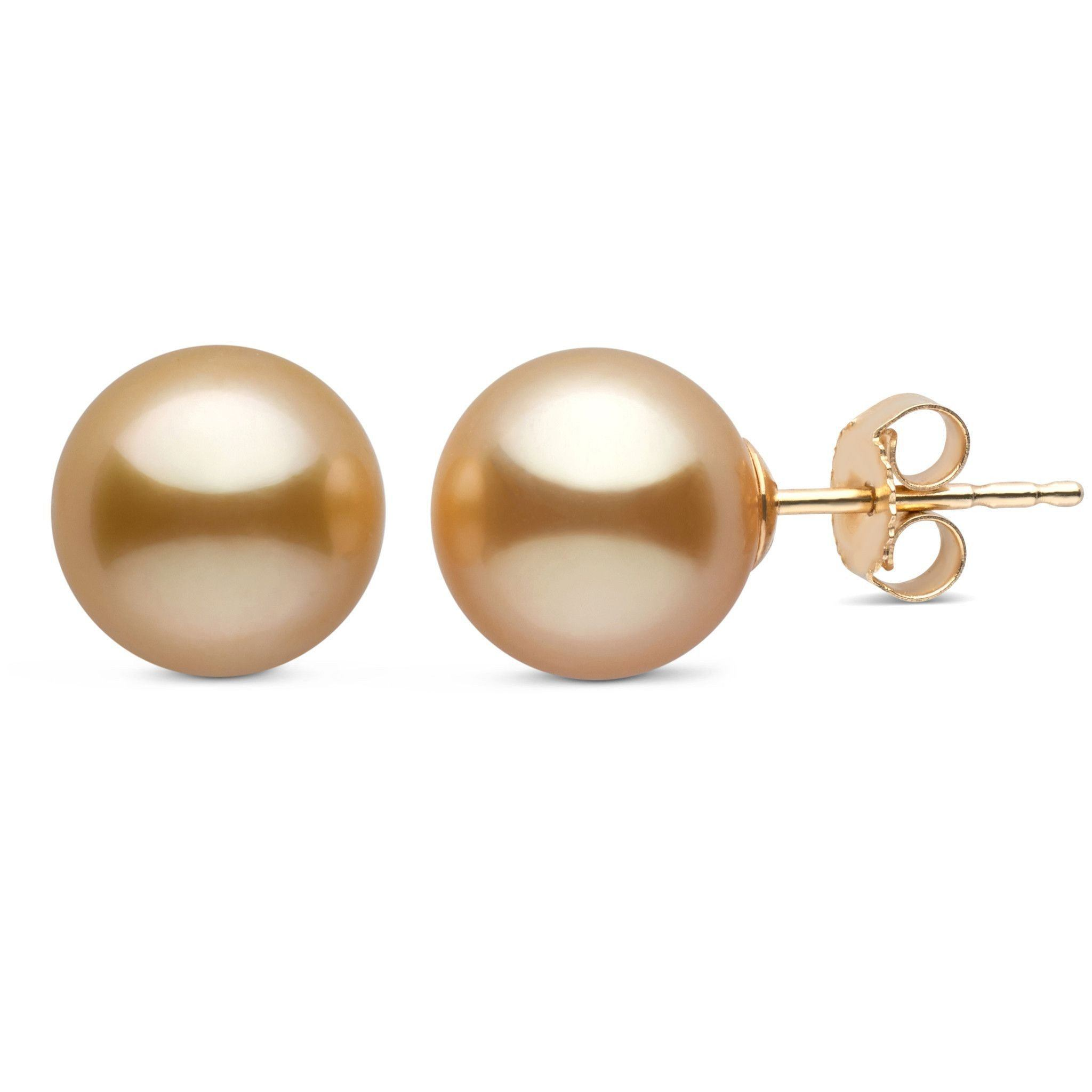 8.0-9.0 mm AAA Golden South Sea Pearl Stud Earrings