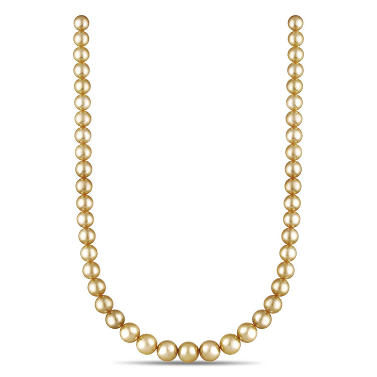 8.1-10.9 mm AA+/AAA Round Golden South Sea Necklace