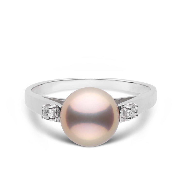 8.1 mm Metallic Freshwater Pearl and Diamond Promise Ring
