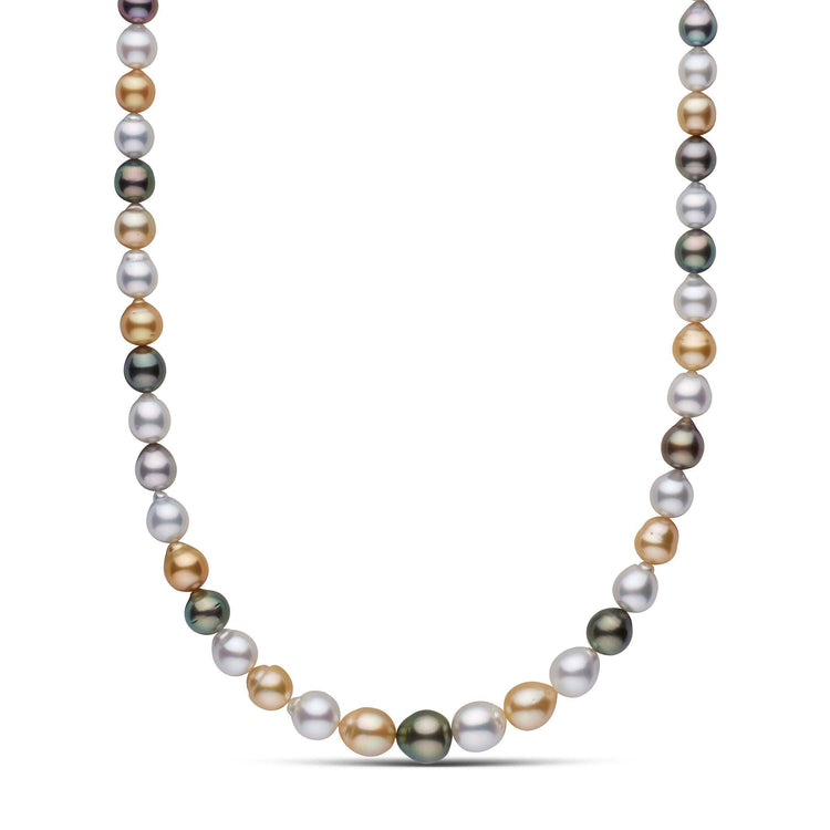 8.2-11.6 mm AA+/AAA Multicolor South Sea Drop Pearl Necklace