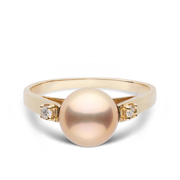 8.2 mm Metallic Freshwater Pearl and Diamond Promise Ring