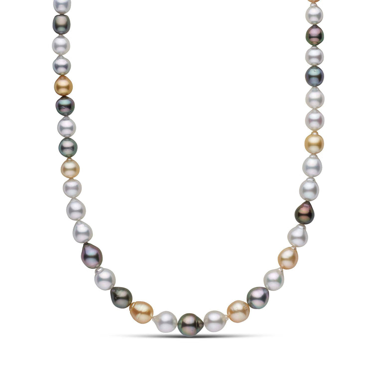 8.3-11.3 mm AA+/AAA Multicolor South Sea Drop Pearl Necklace