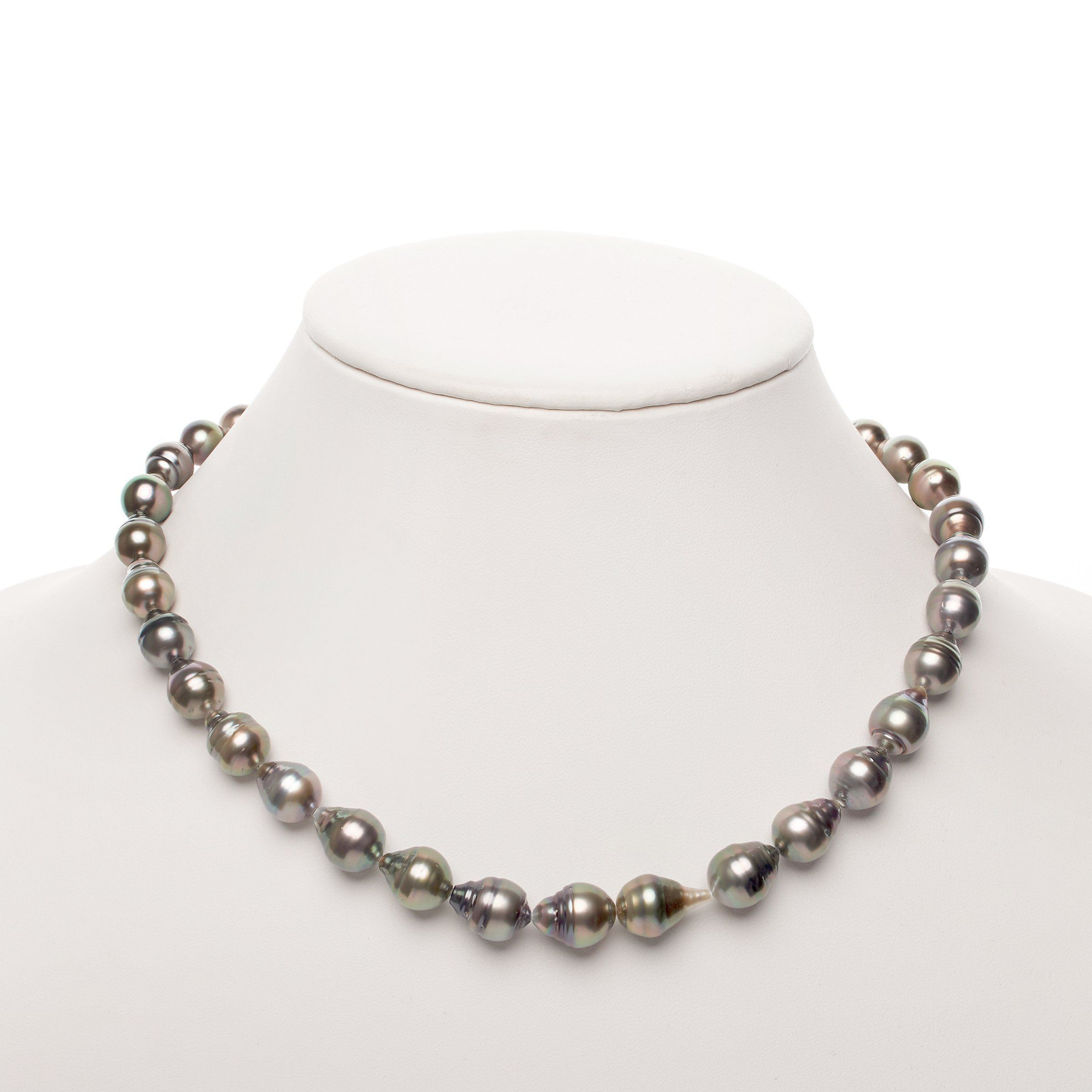 8.3-10.8 mm Silver Baroque Tahitian Necklace with Pistachio Overtones