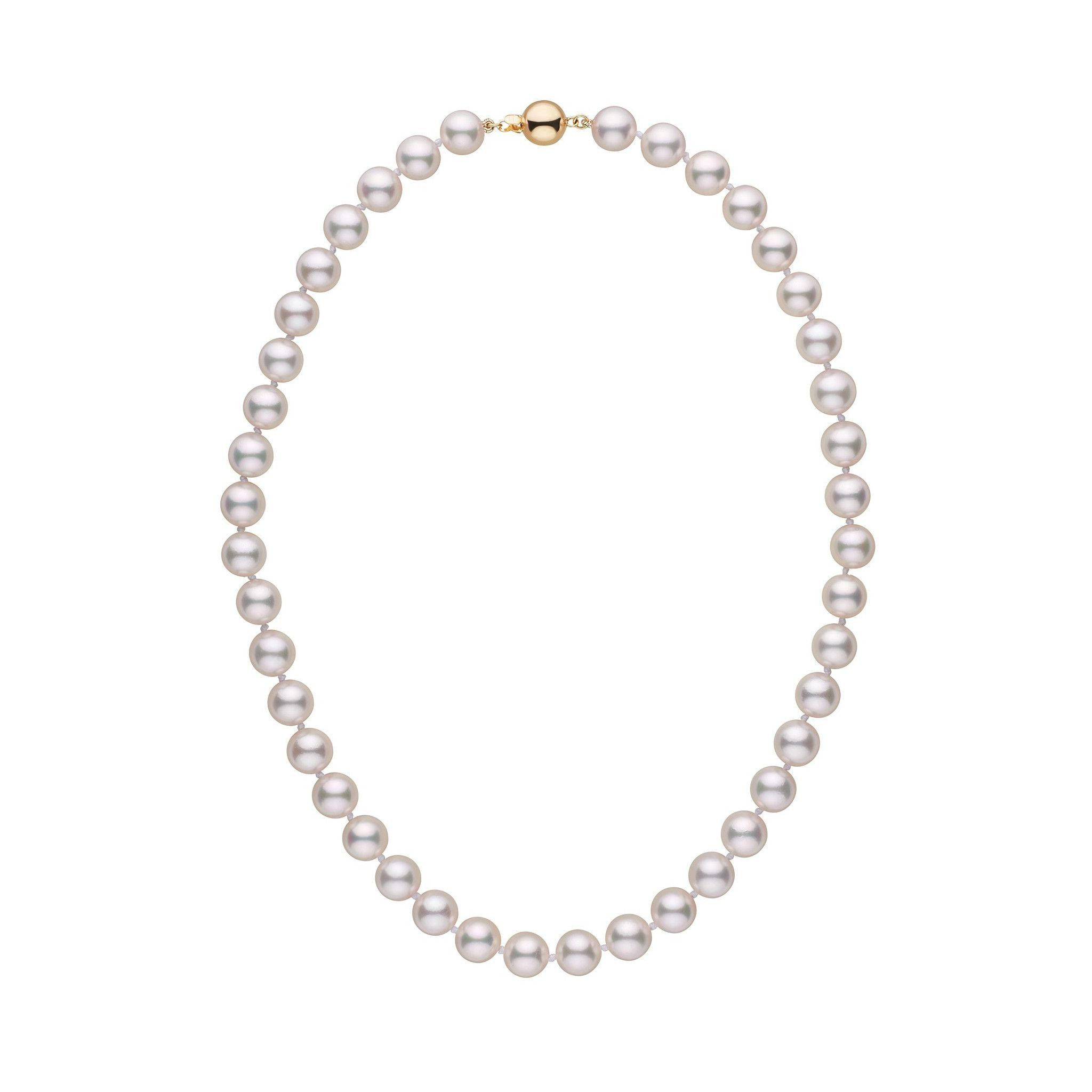 """Details about  /18/"""" NATURAL AAA 8-9MM AKOYA White PEARL NECKLACE 14K GOLD CLASP"""