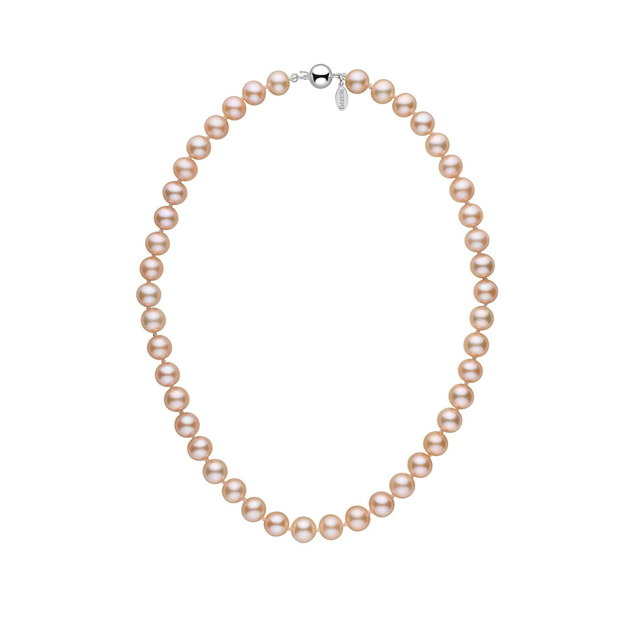 8.5-9.0 mm 16 Inch Pink to Peach Freshadama Freshwater Pearl Necklace