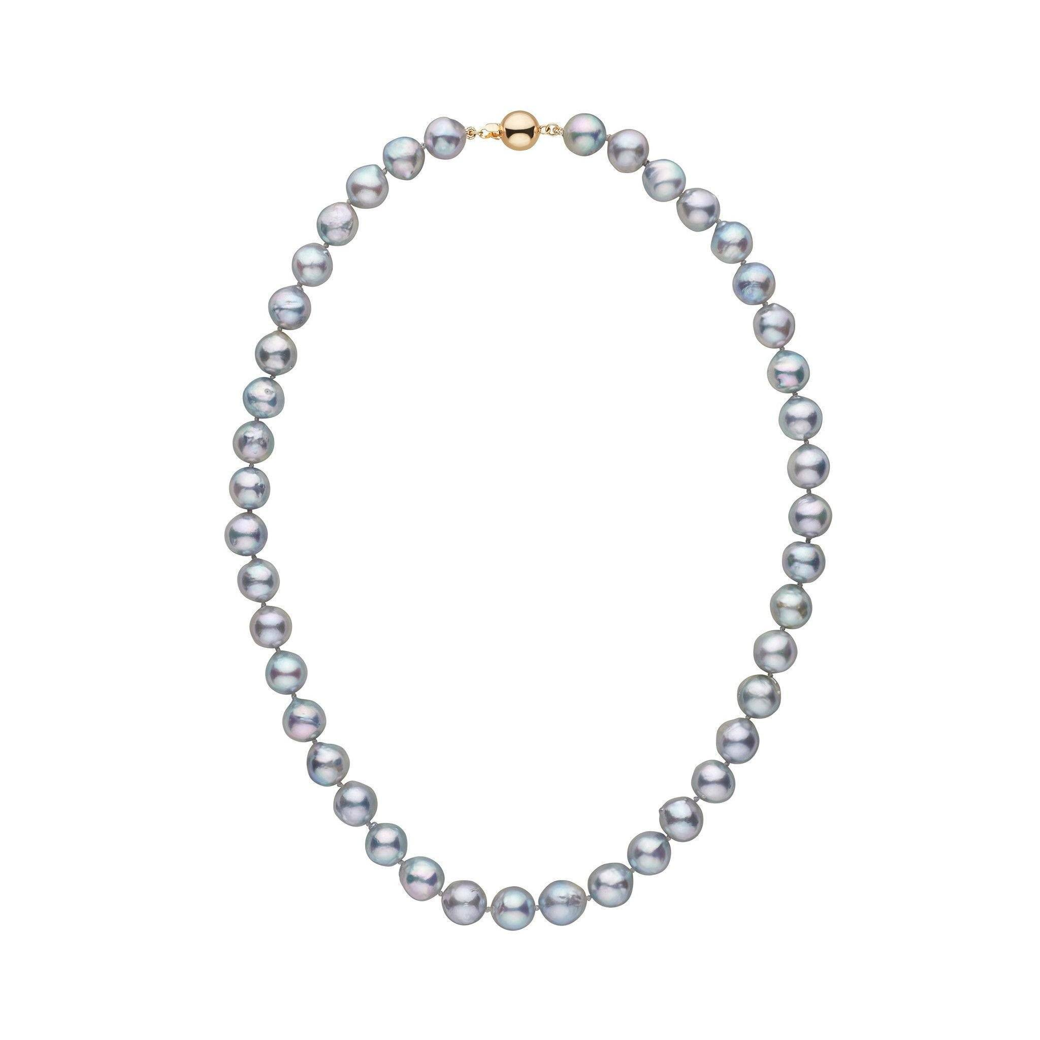 8.5-9.0 mm 16 Inch Silver-Blue Akoya Baroque Pearl Necklace