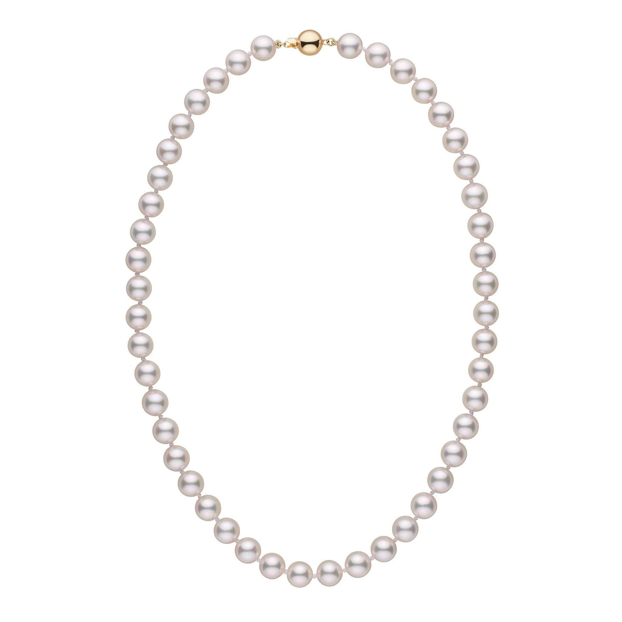 8.5-9.0 mm 18 Inch AA+ White Akoya Pearl Necklace