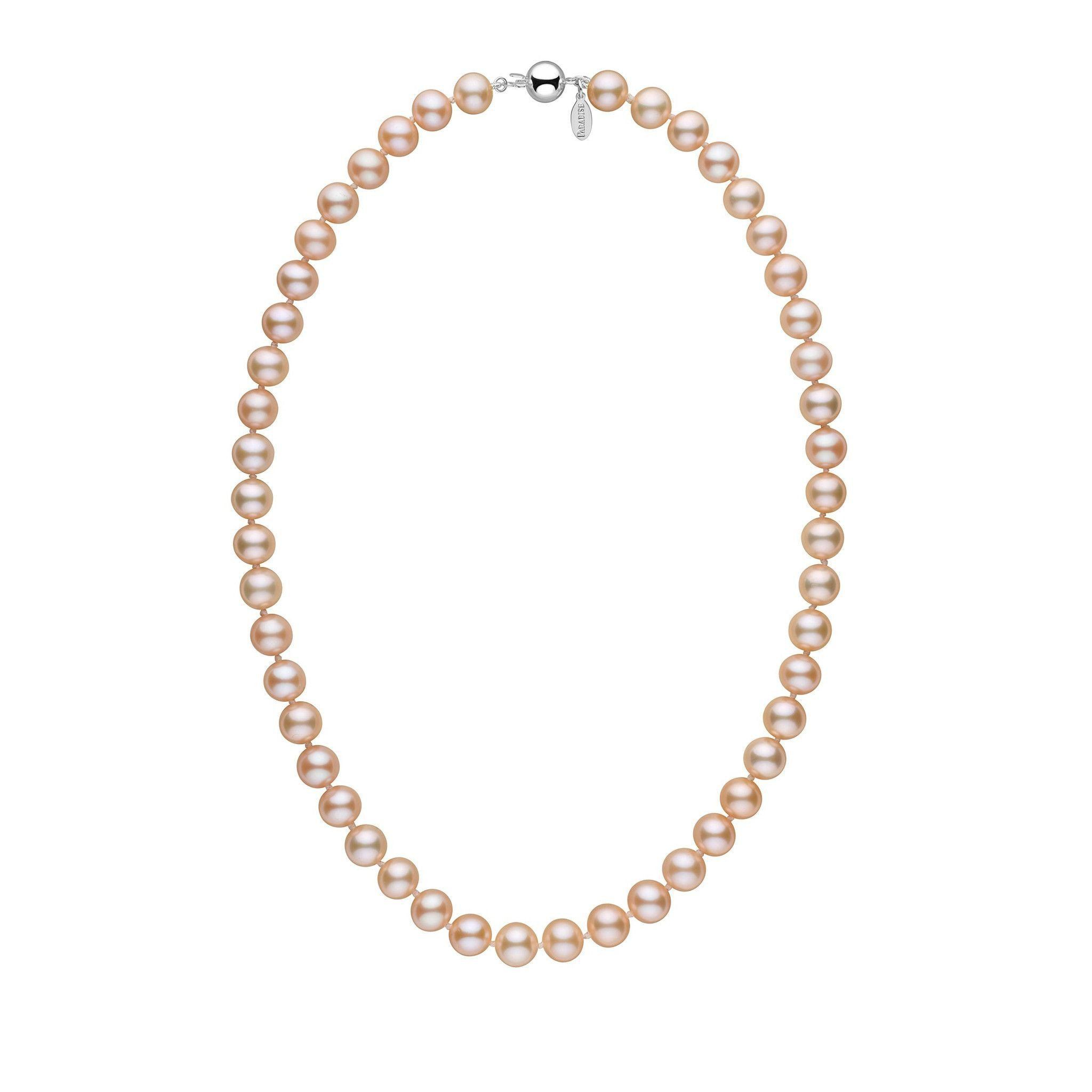 8.5-9.0 mm 18 Inch Pink to Peach Freshadama Freshwater Pearl Necklace