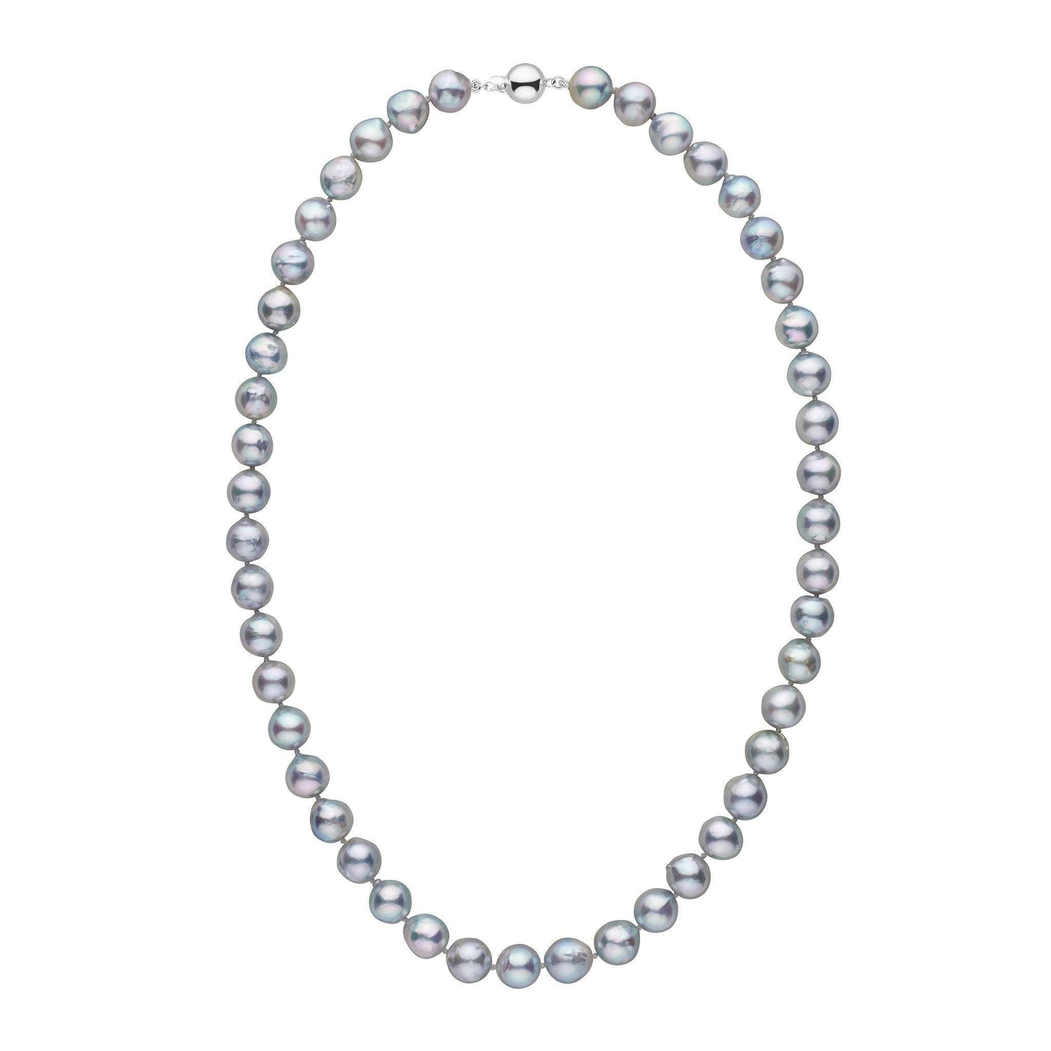 8.5-9.0 mm 18 Inch Silver-Blue Akoya Baroque Pearl Necklace
