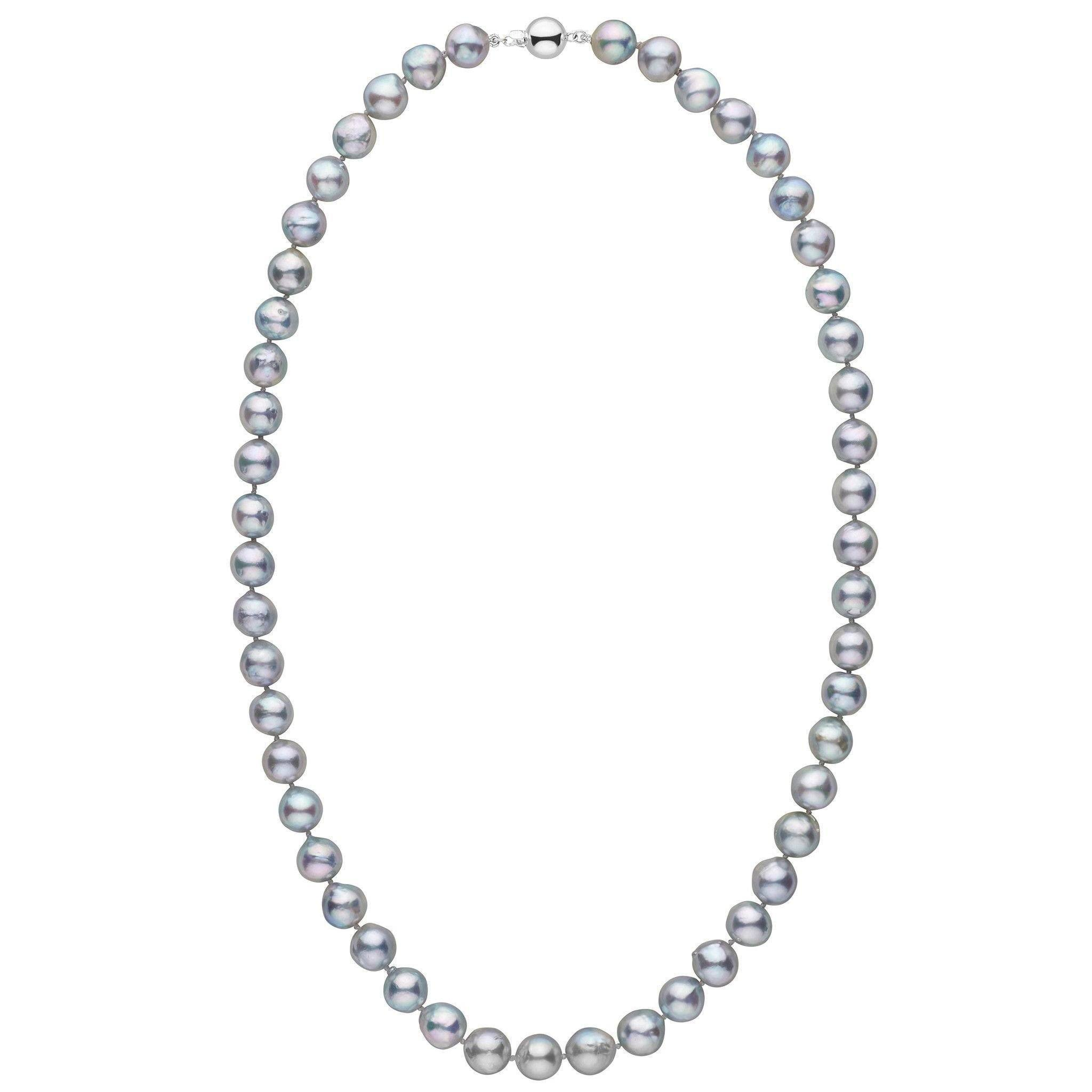 8.5-9.0 mm 20 Inch Silver-Blue Akoya Baroque Pearl Necklace