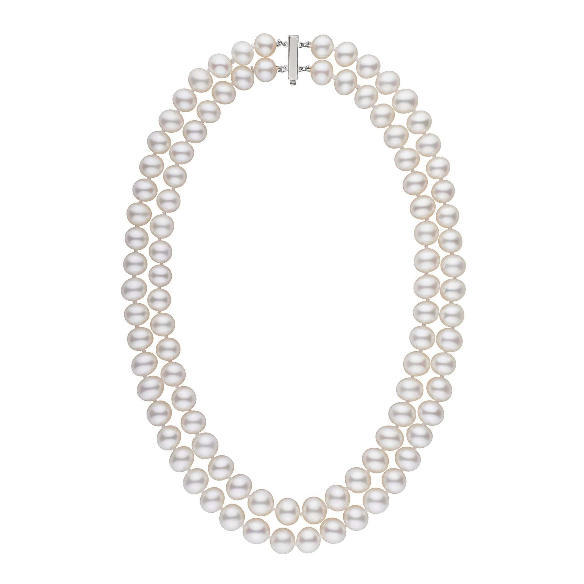 8.5-9.0 mm AA+ Double Strand White Freshwater Pearl Necklace