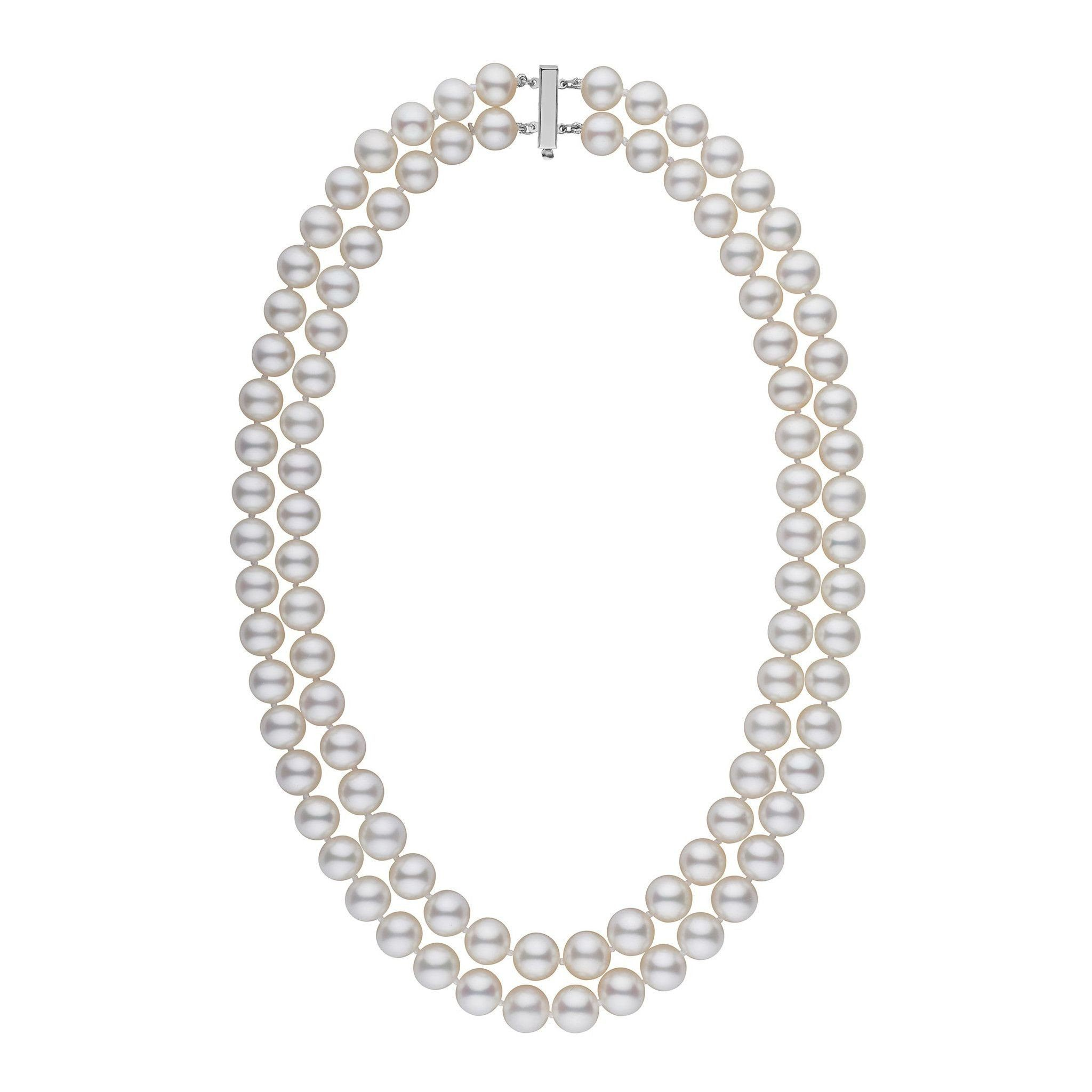 8.5-9.0 mm AAA Double Strand White Freshwater Pearl Necklace