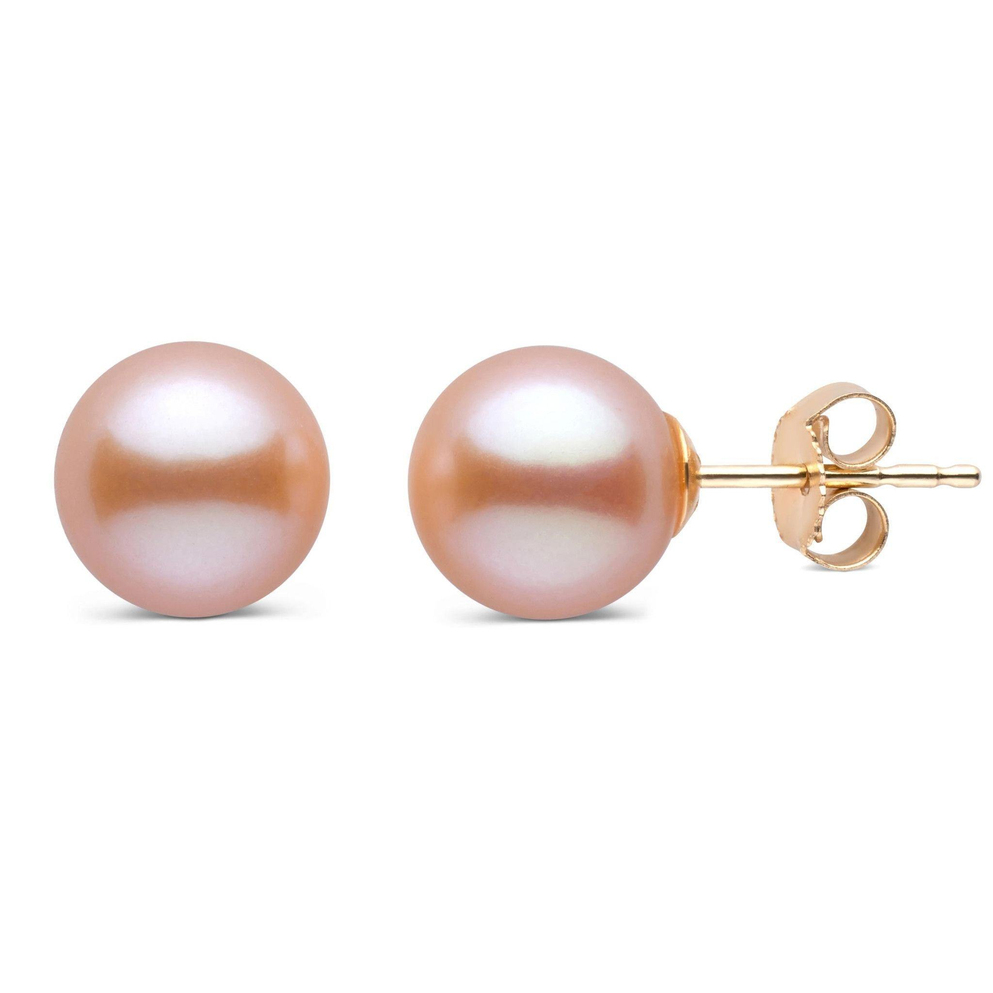 8.5-9.0 mm AAA Pink to Peach Freshwater Pearl Stud Earrings