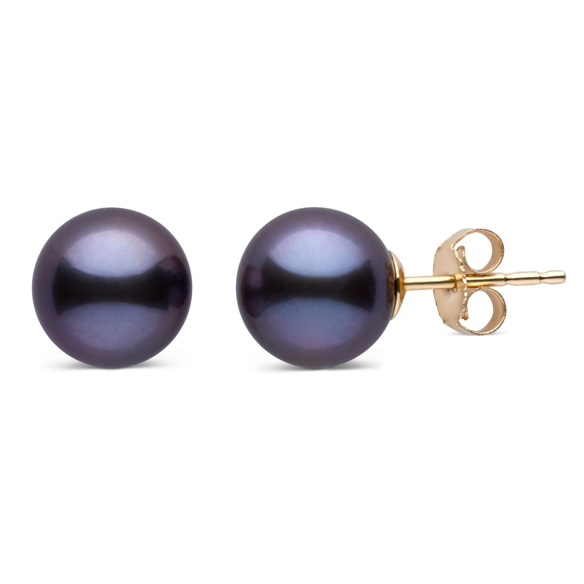8.5-9.0 mm AAA Black Freshwater Pearl Stud Earrings