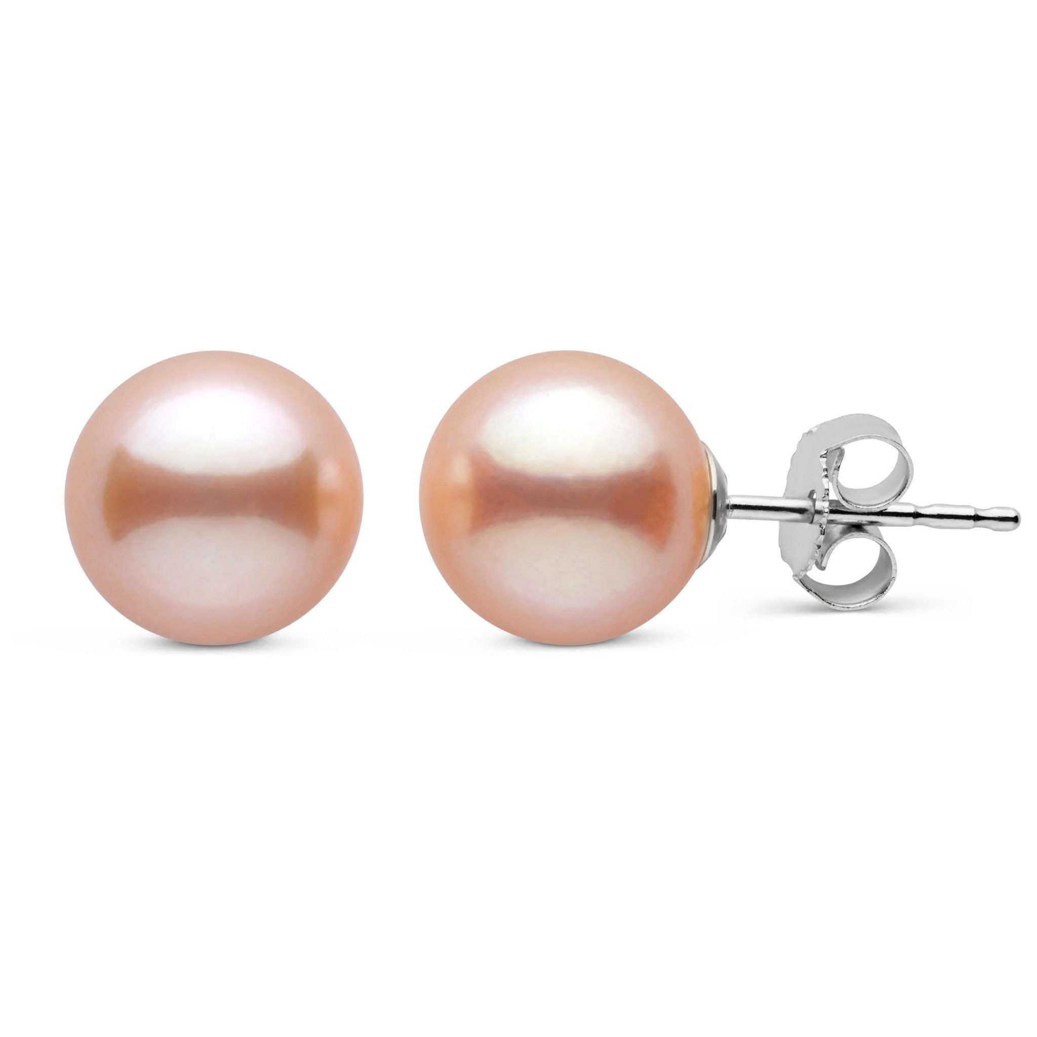 8.5-9.0 mm Pink to Peach Freshadama Freshwater Pearl Stud Earrings