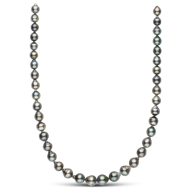 8.6-10.7mm Dark Silver Baroque Necklace