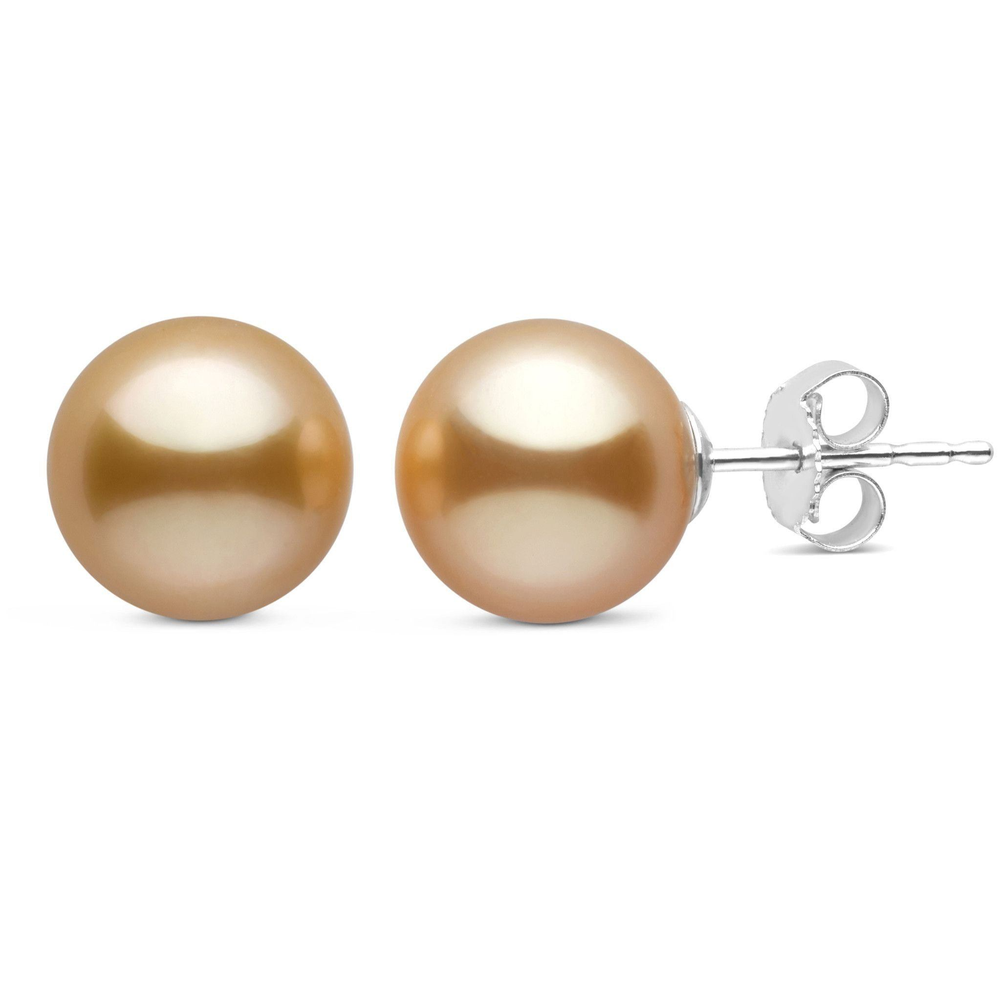 9.0-10.0 mm AAA Golden South Sea Pearl Stud Earrings
