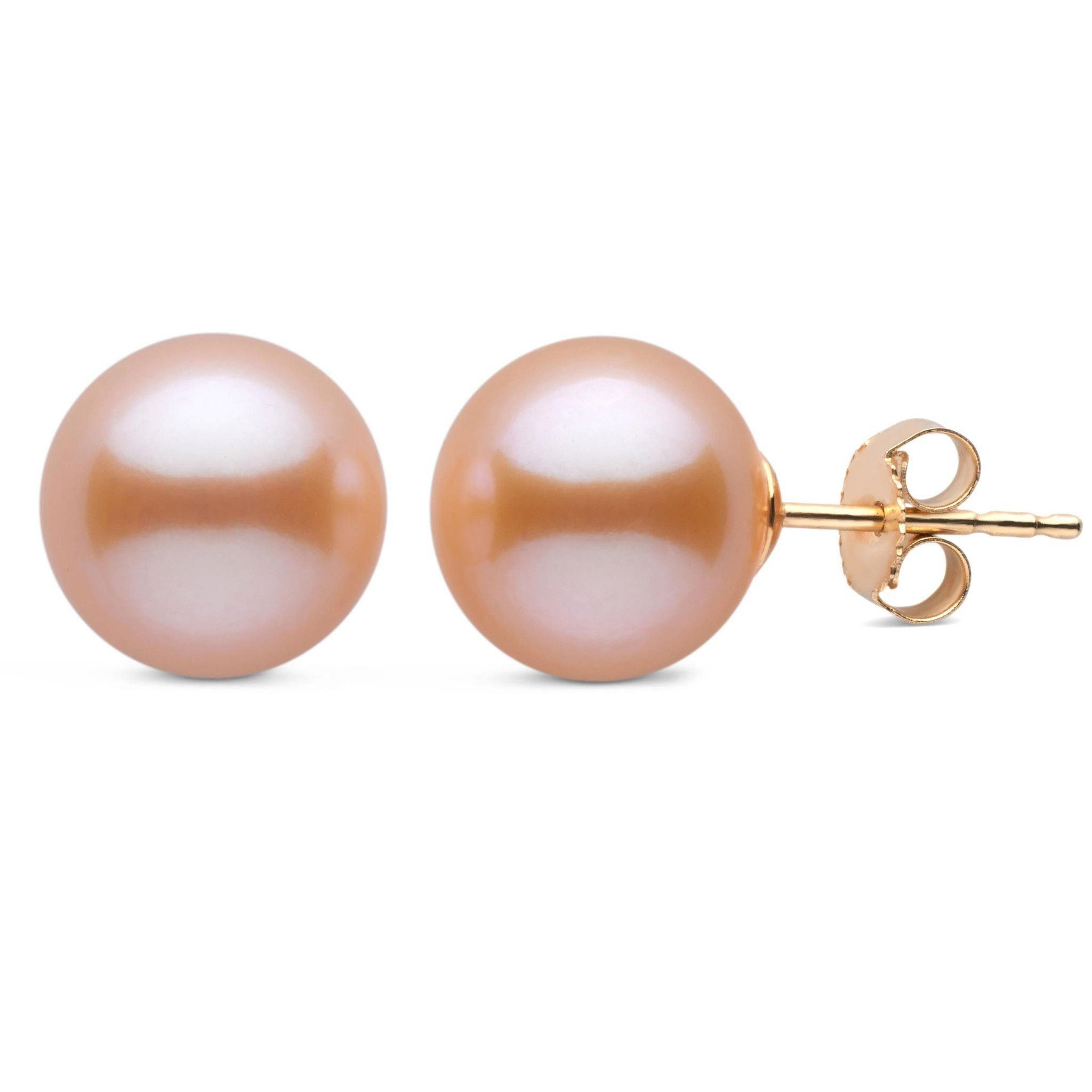 9.0-10.0 mm AAA Pink to Peach Freshwater Pearl Stud Earrings