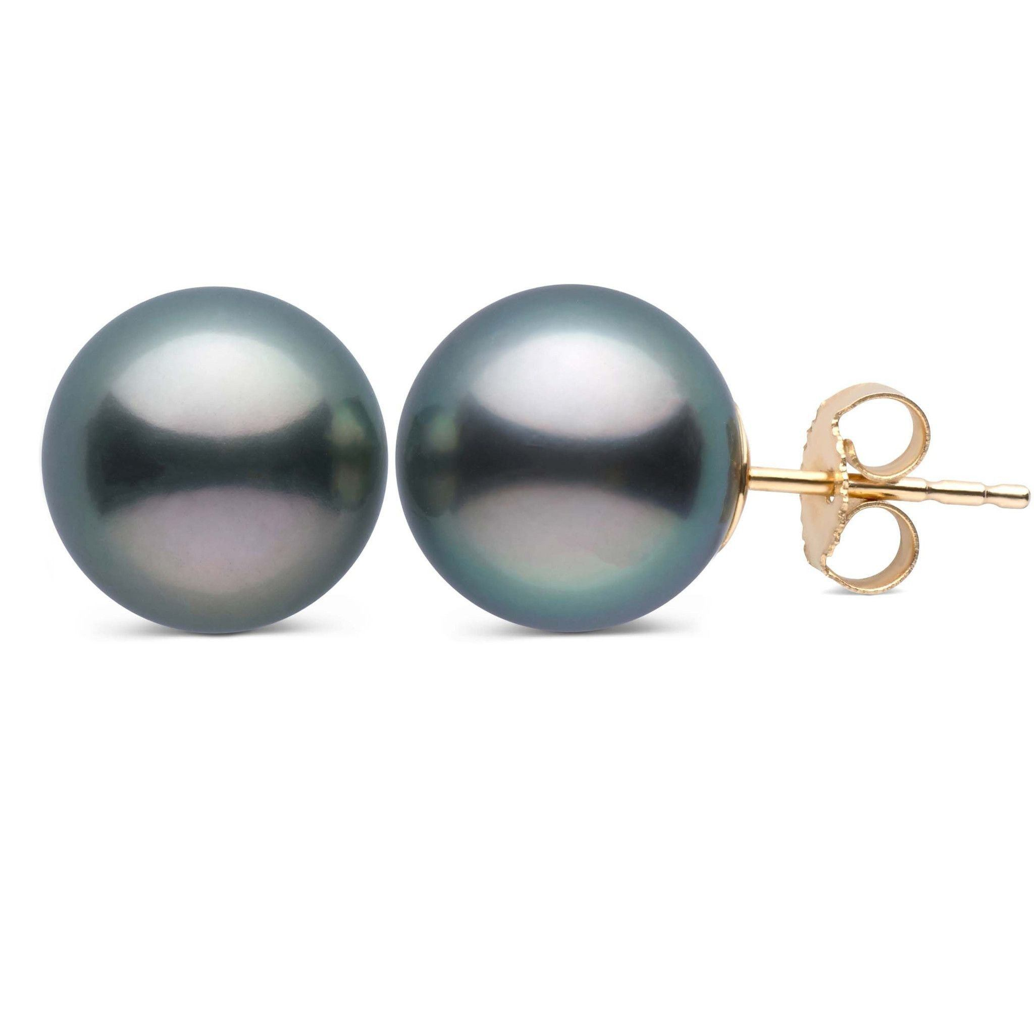 9.0-10.0 mm AAA Tahitian Pearl Stud Earrings