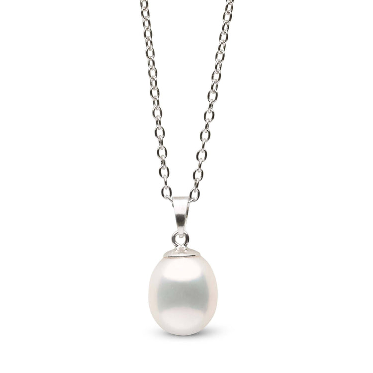 9.0-10.0 mm Metallic White Drop Pearl Pendant in Sterling Silver