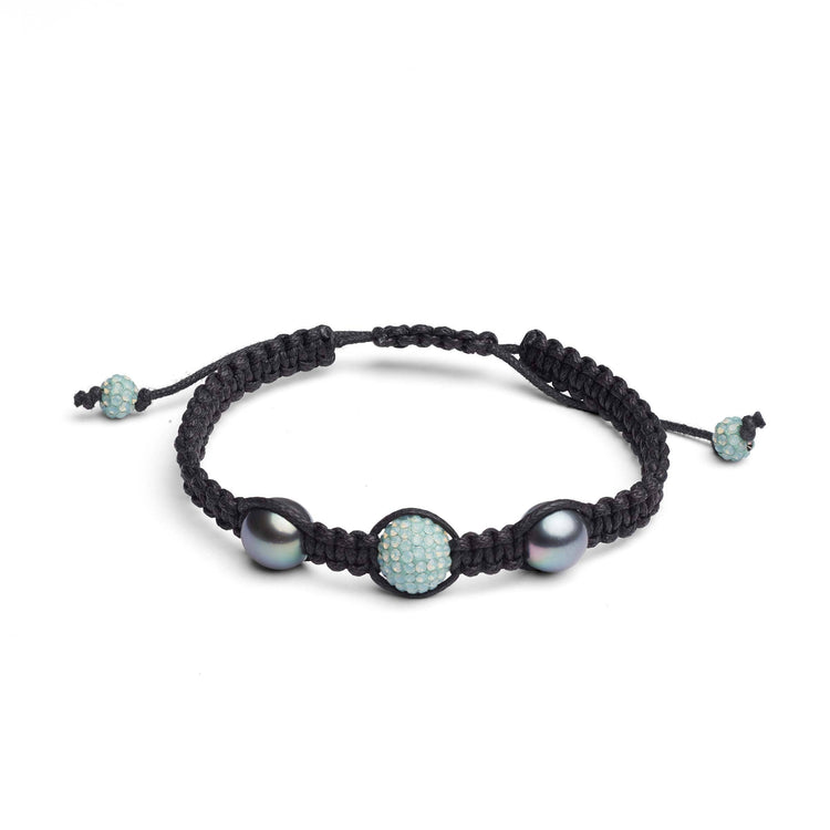 9.0-10.0 mm Tahitian Pearl and Crystal Macrame Bracelet- Light Aqua