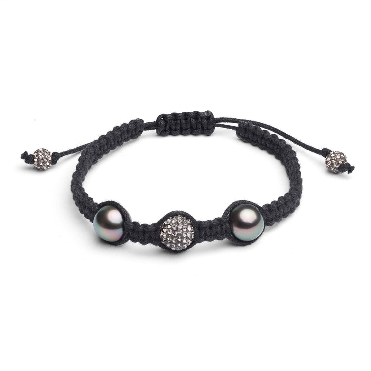 9.0-10.0 mm Tahitian Pearl and Crystal Macrame Bracelet- Silver
