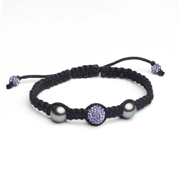 9.0-10.0 mm Tahitian Pearl and Crystal Macrame Bracelet- Violet